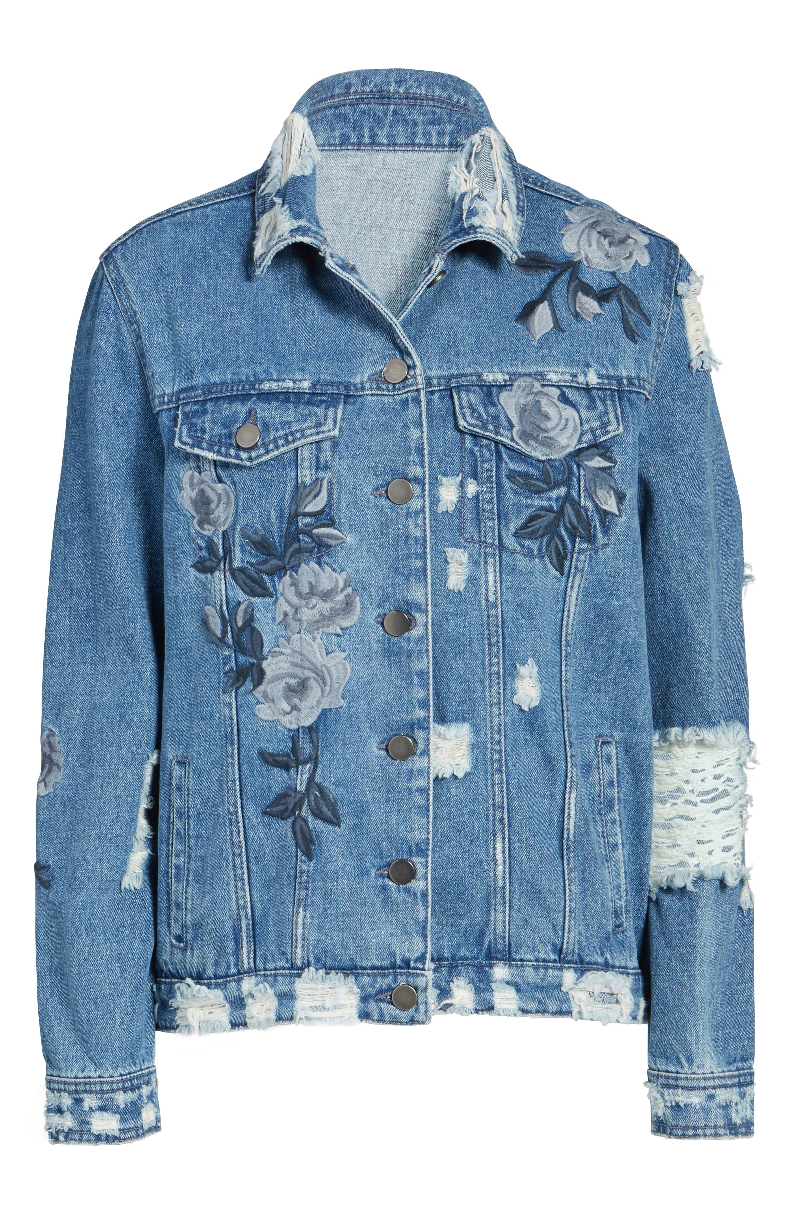 Floral Embroidered Ripped Denim Jacket,                             Alternate thumbnail 5, color,                             422