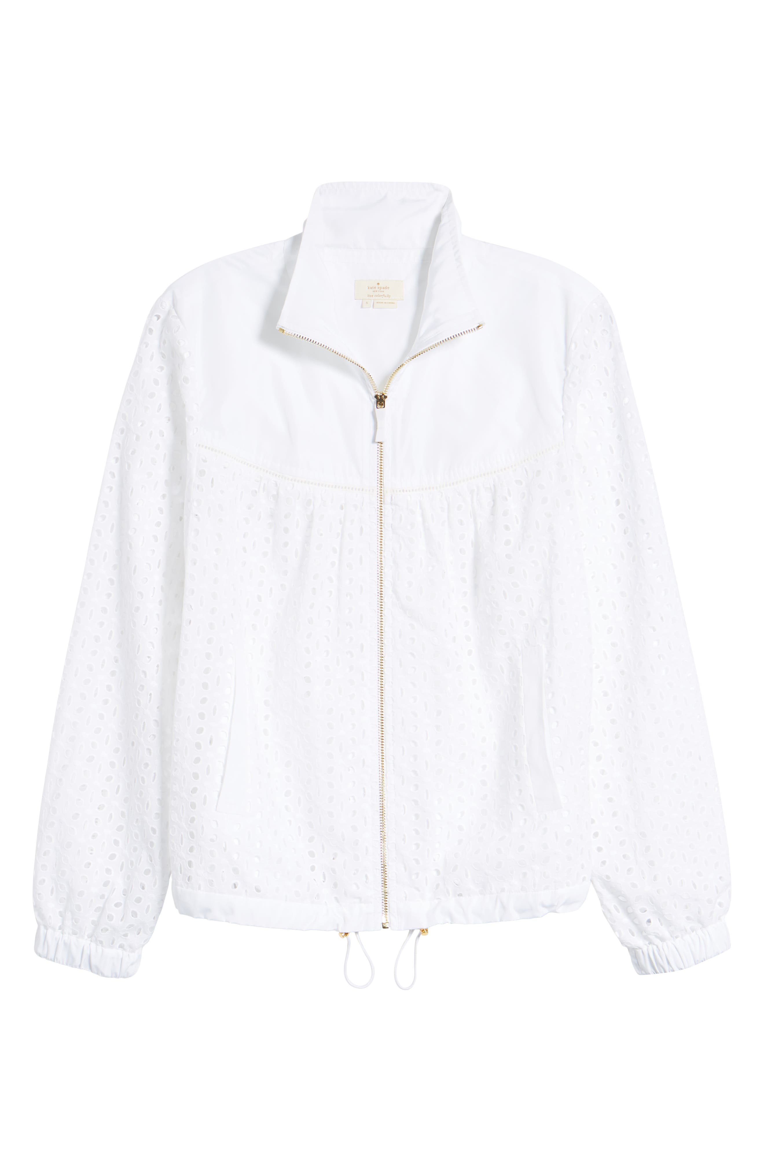Eyelet Jacket,                             Alternate thumbnail 6, color,                             FRESH WHITE