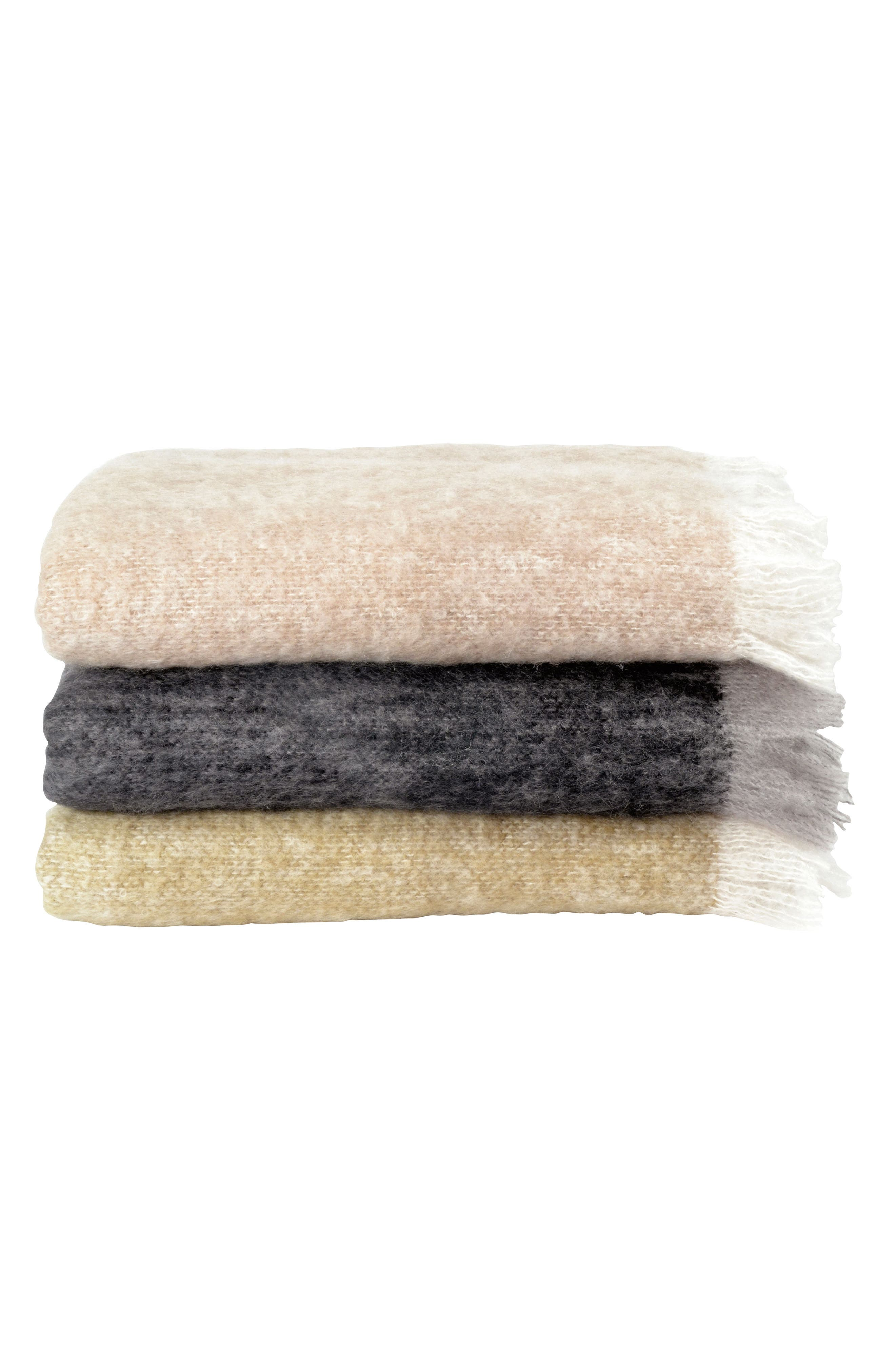 Mohair & Wool Throw,                             Alternate thumbnail 3, color,                             CHARCOAL