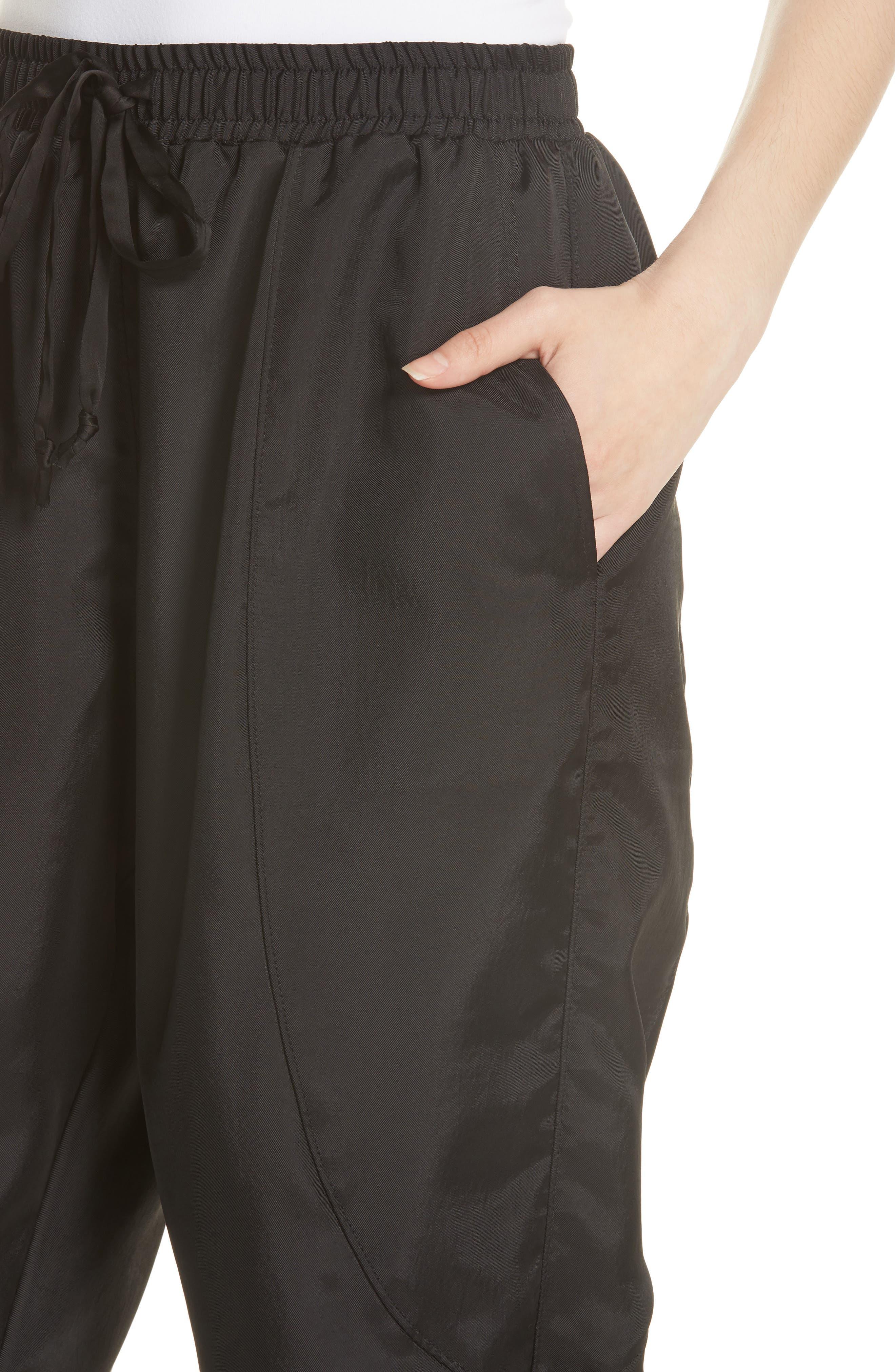 Fold Detail Jogger Pants,                             Alternate thumbnail 4, color,                             BLACK
