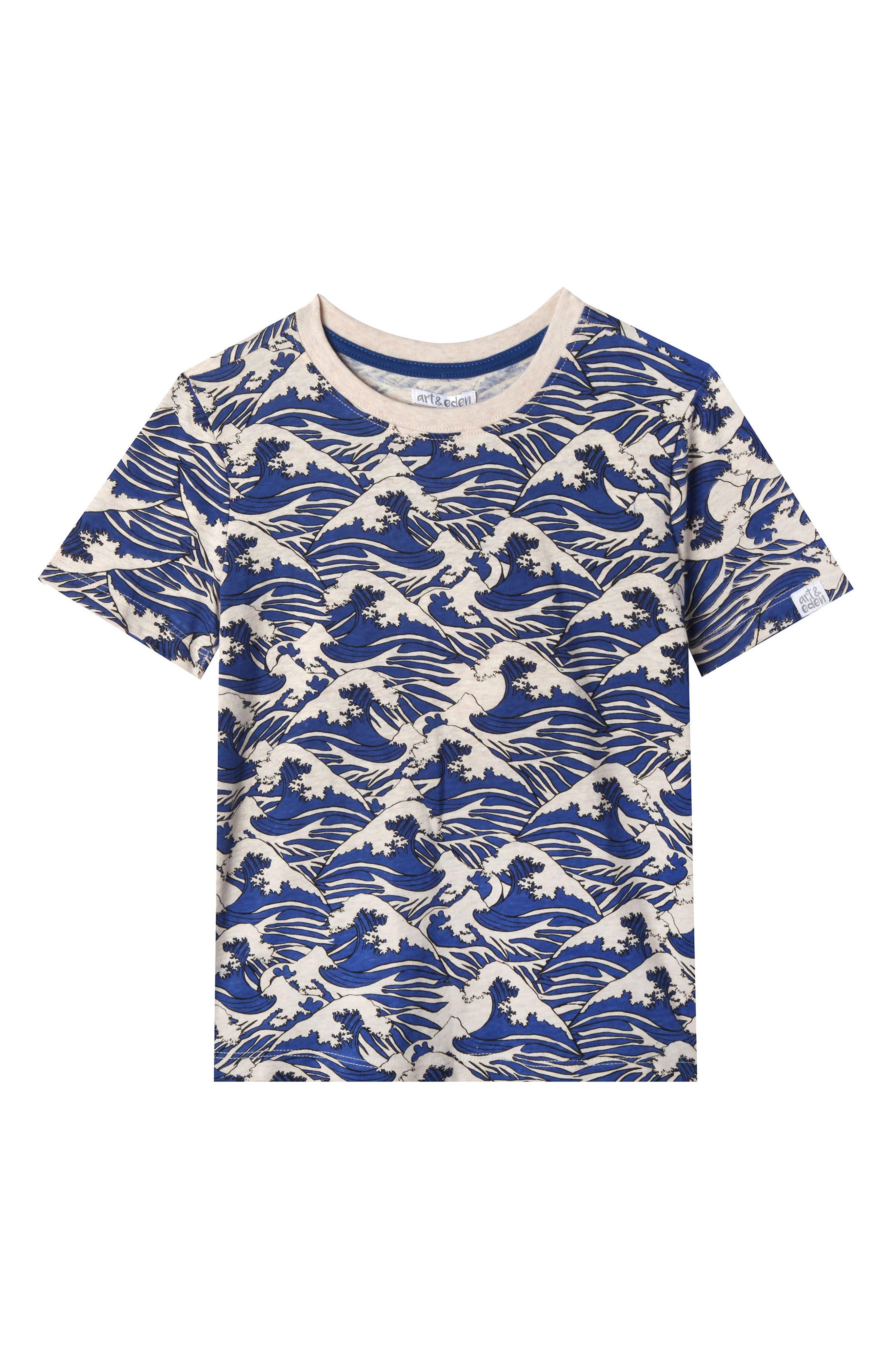 David Ocean Waves Organic Cotton T-Shirt,                             Main thumbnail 1, color,                             260