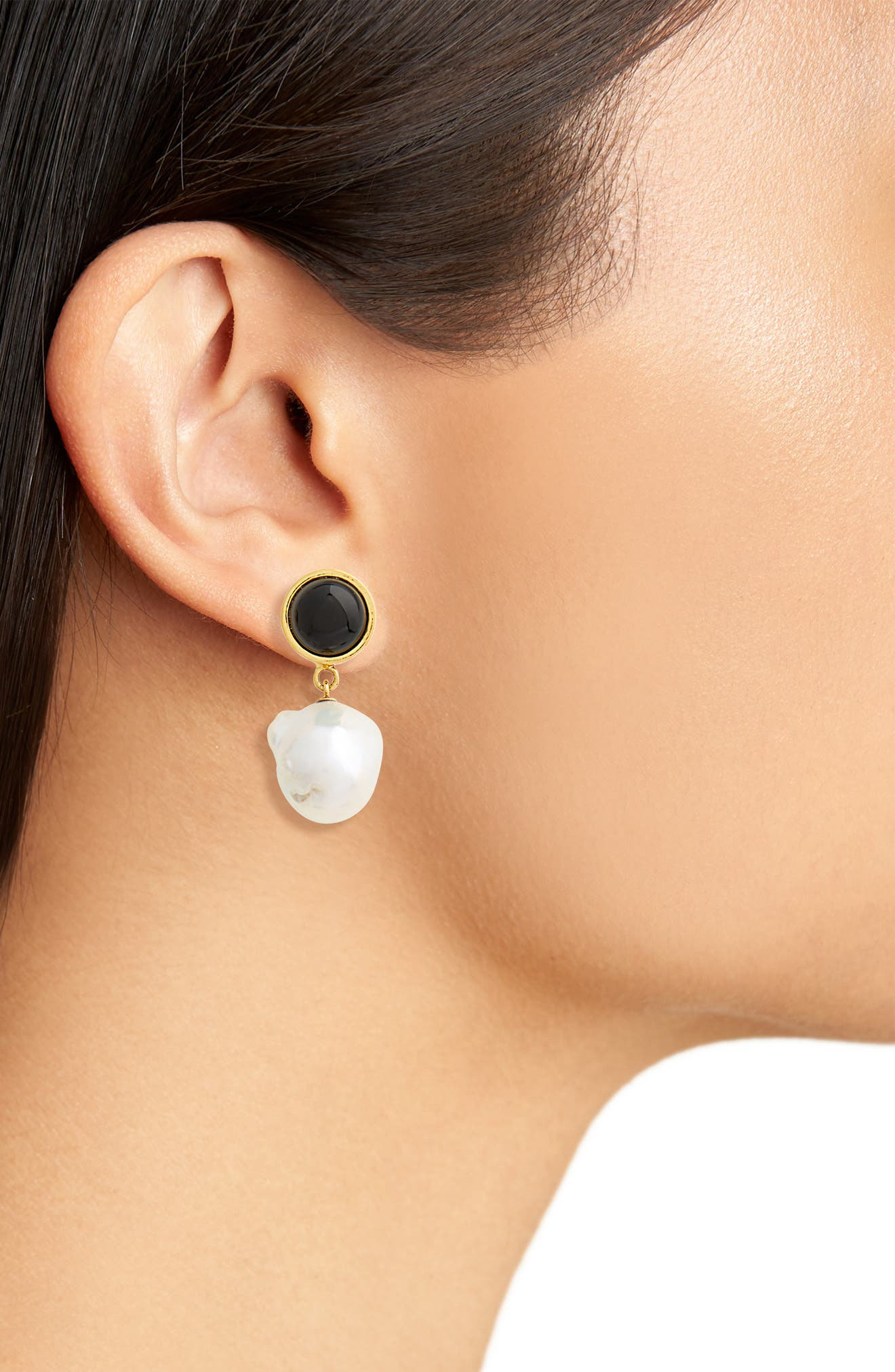 Tuxedo Pearl Drop Earrings,                             Alternate thumbnail 2, color,