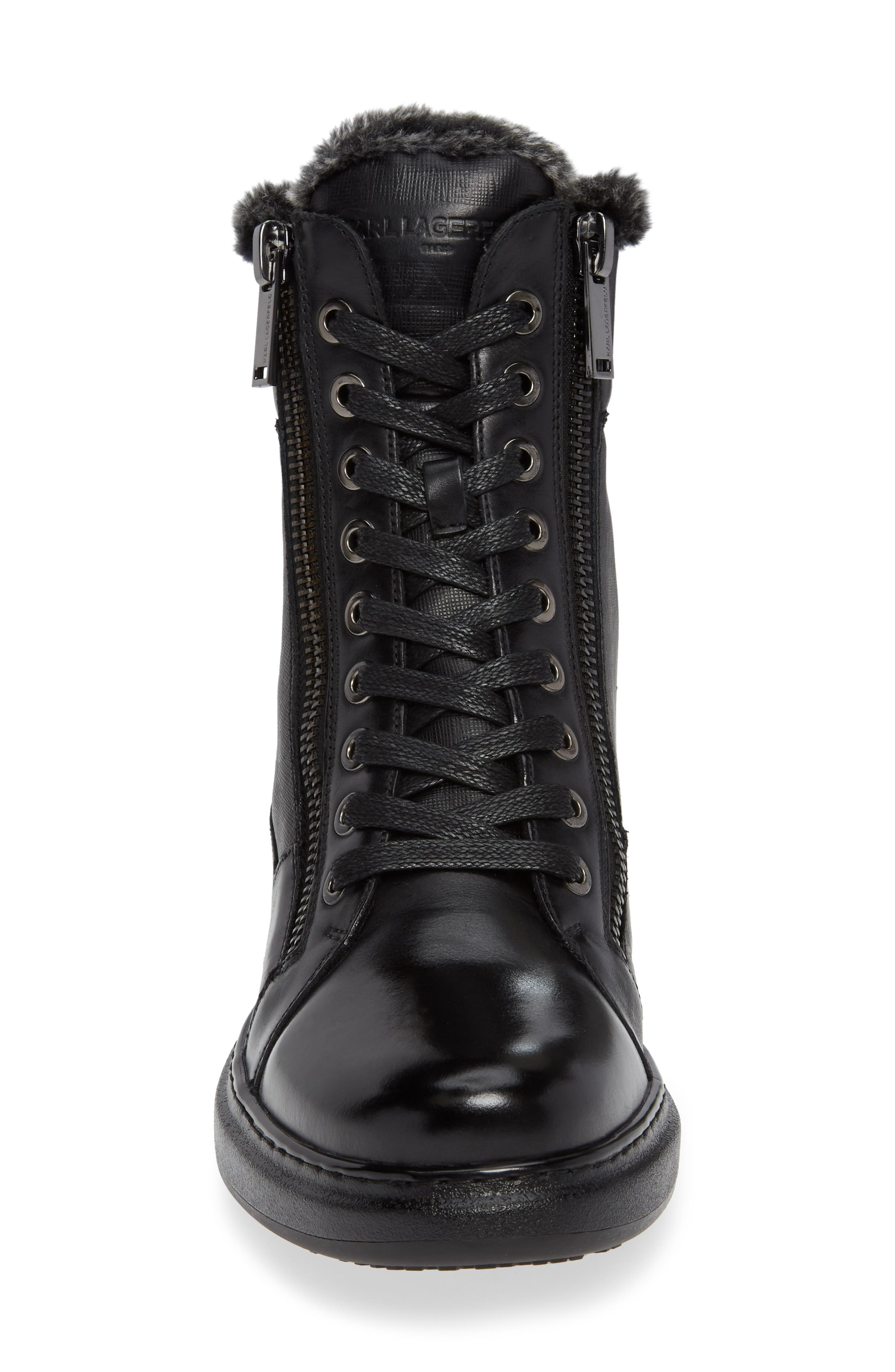 Lace-Up Boot with Faux Fur,                             Alternate thumbnail 4, color,                             001