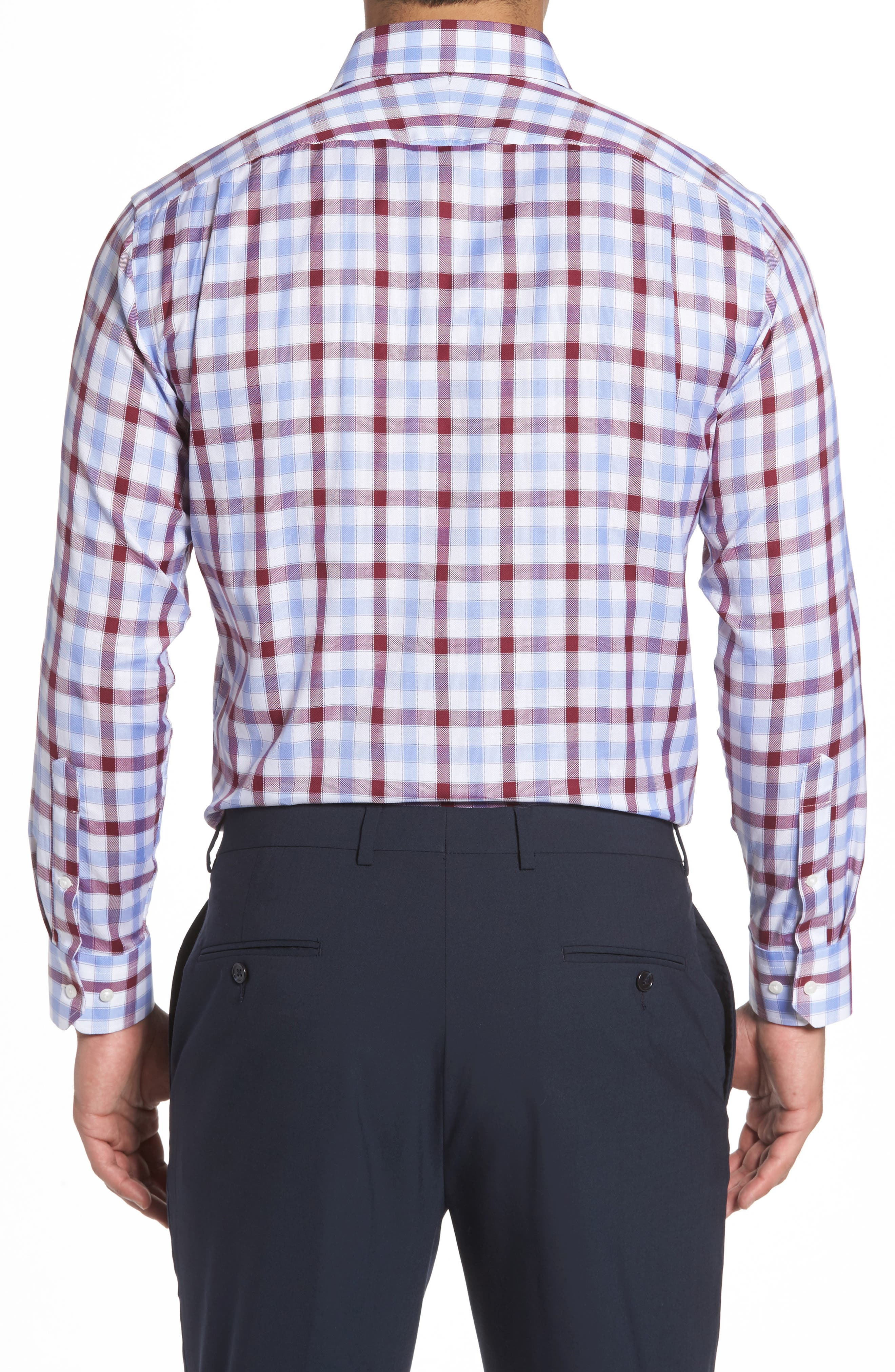 Trim Fit Plaid Dress Shirt,                             Alternate thumbnail 4, color,