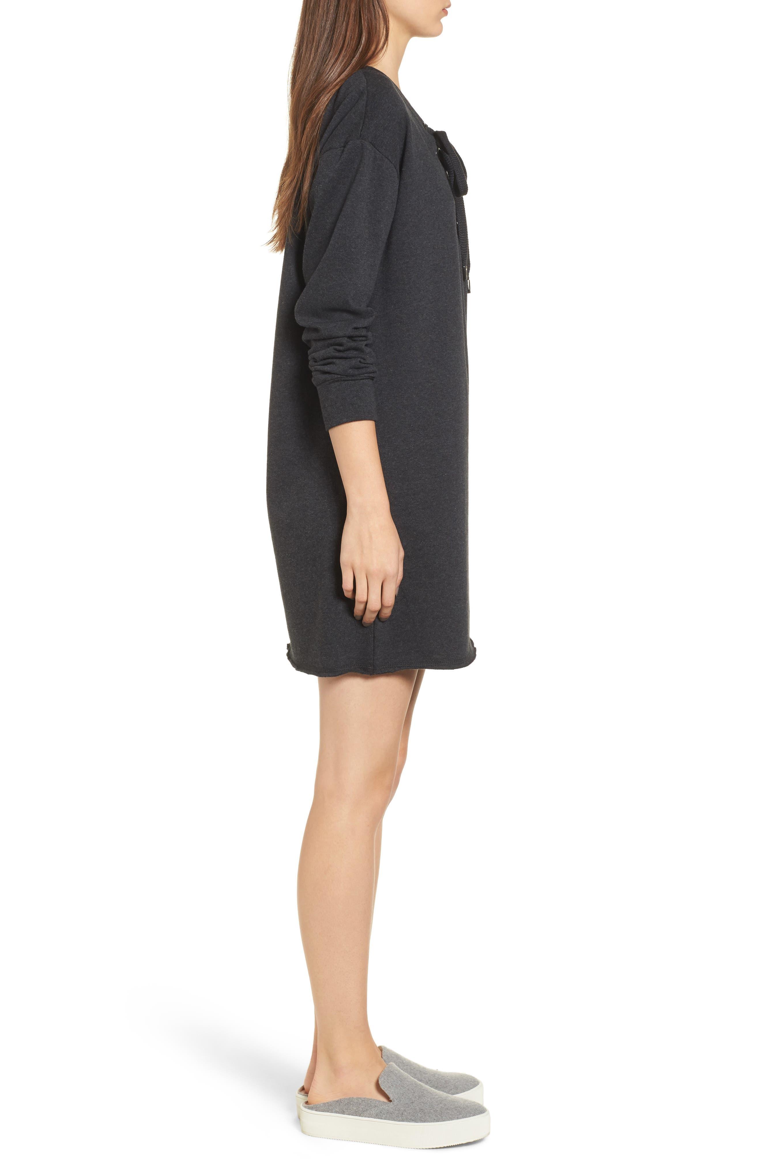 Lace-Up Sweatshirt Dress,                             Alternate thumbnail 3, color,                             020