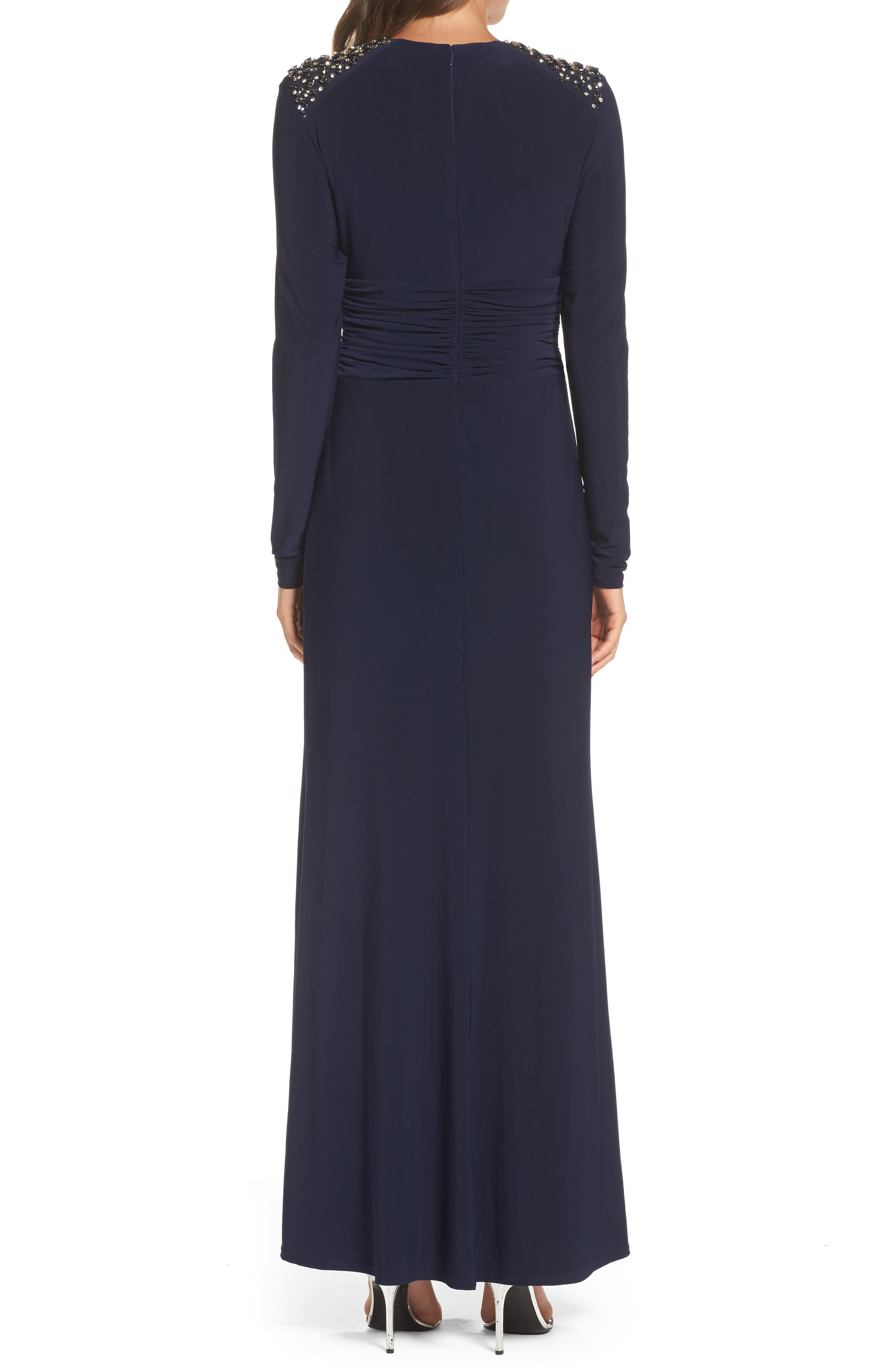 Embellished Ruched Waist Gown,                             Alternate thumbnail 2, color,                             410