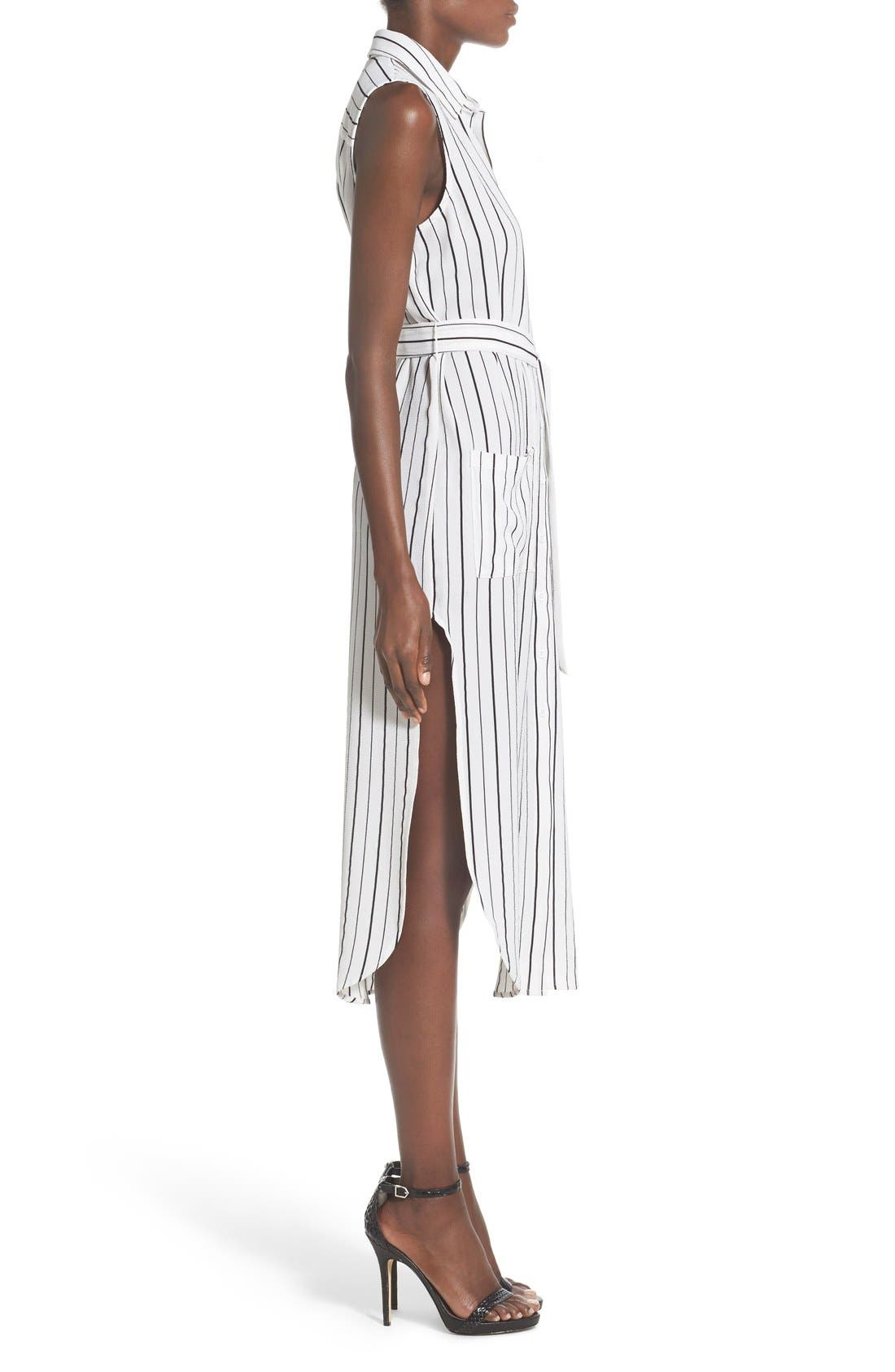 Stripe Sleeveless Midi Shirtdress,                             Alternate thumbnail 4, color,                             100