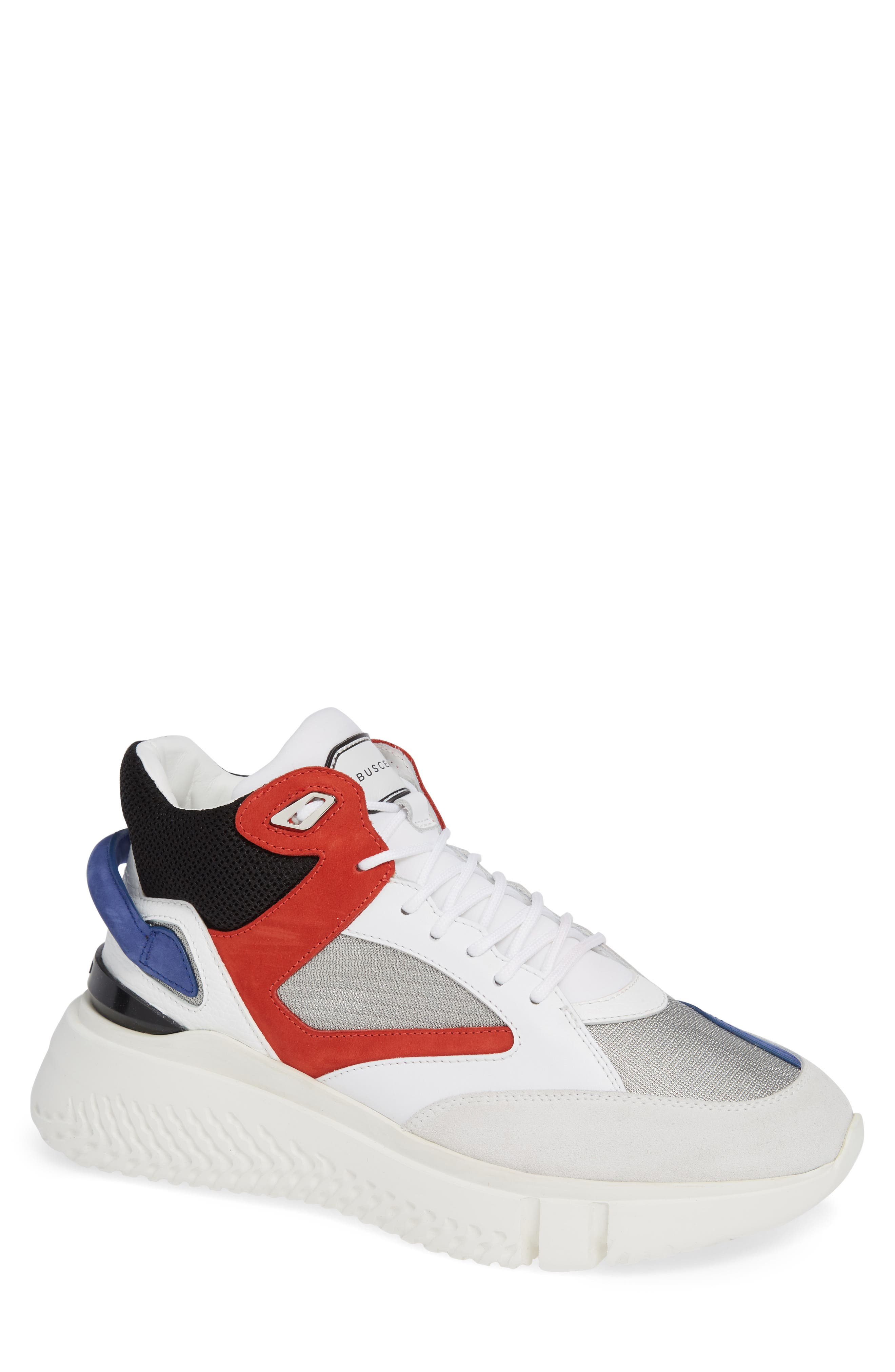 BUSCEMI Men'S Veloce Mid-Top Runner Sneakers in White