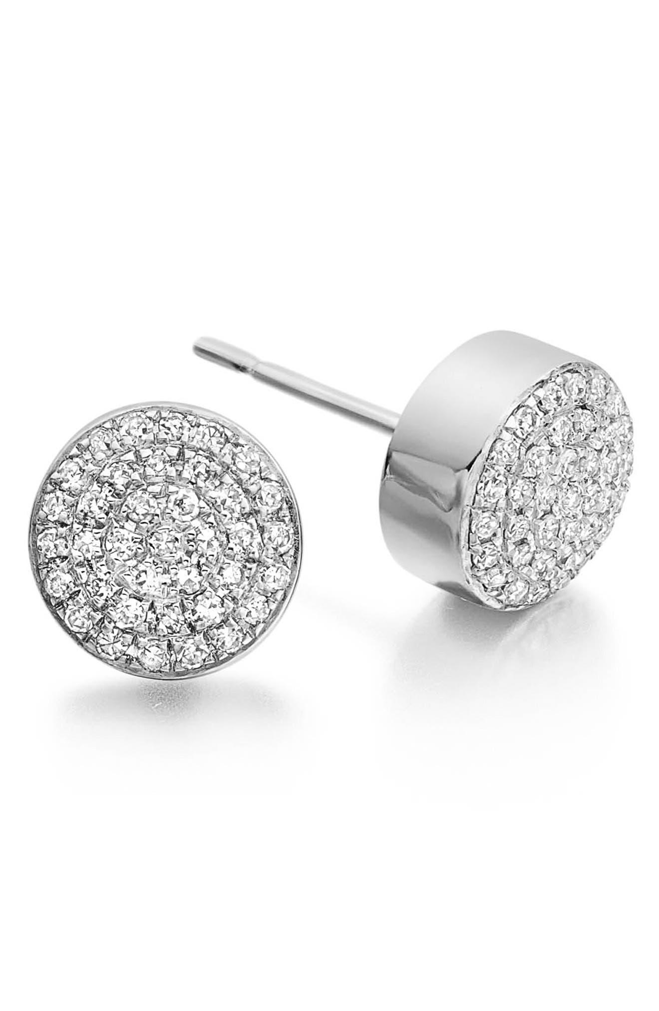 'Ava' Diamond Button Stud Earrings,                             Alternate thumbnail 2, color,                             SILVER