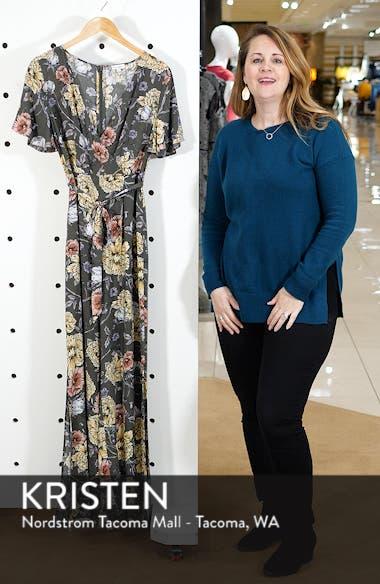 Floral Print Tie Waist Jumpsuit, sales video thumbnail