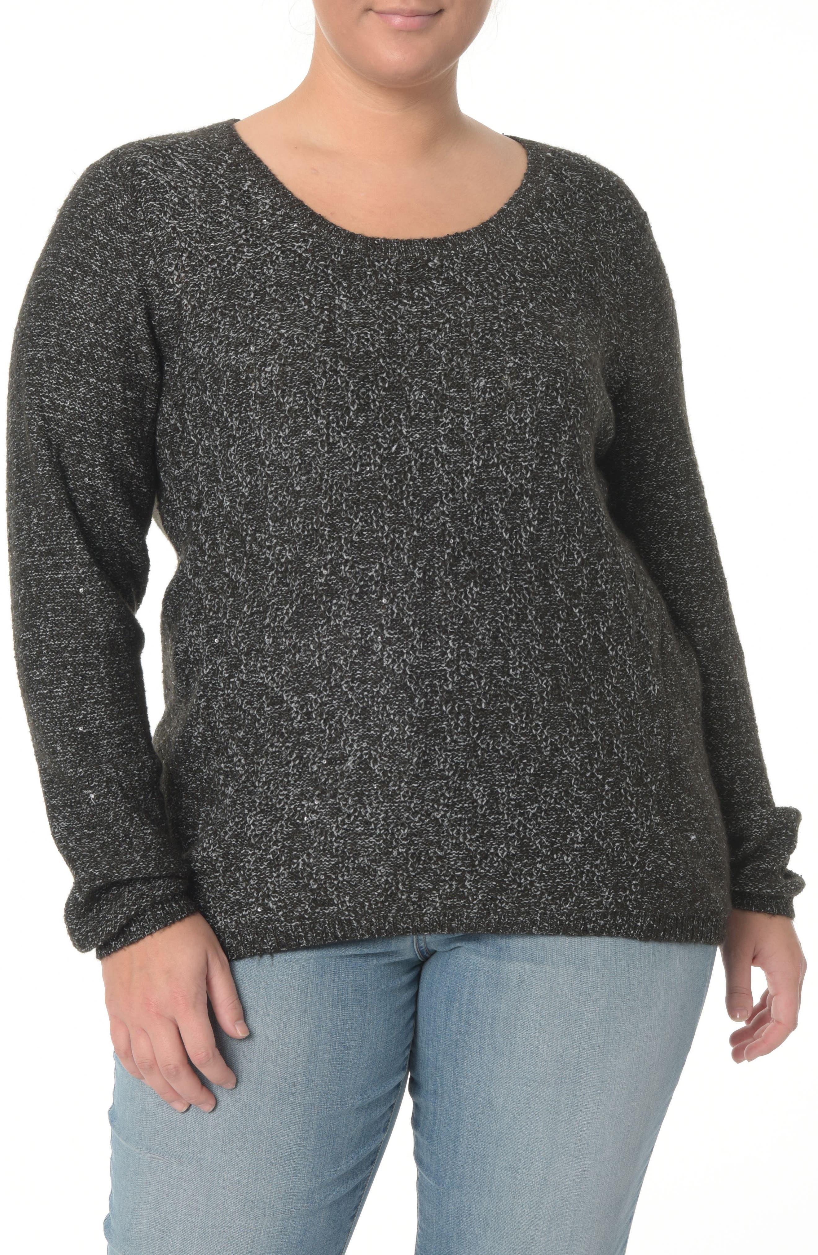 Sequin Scoop Neck Sweater,                             Main thumbnail 1, color,                             BLACK