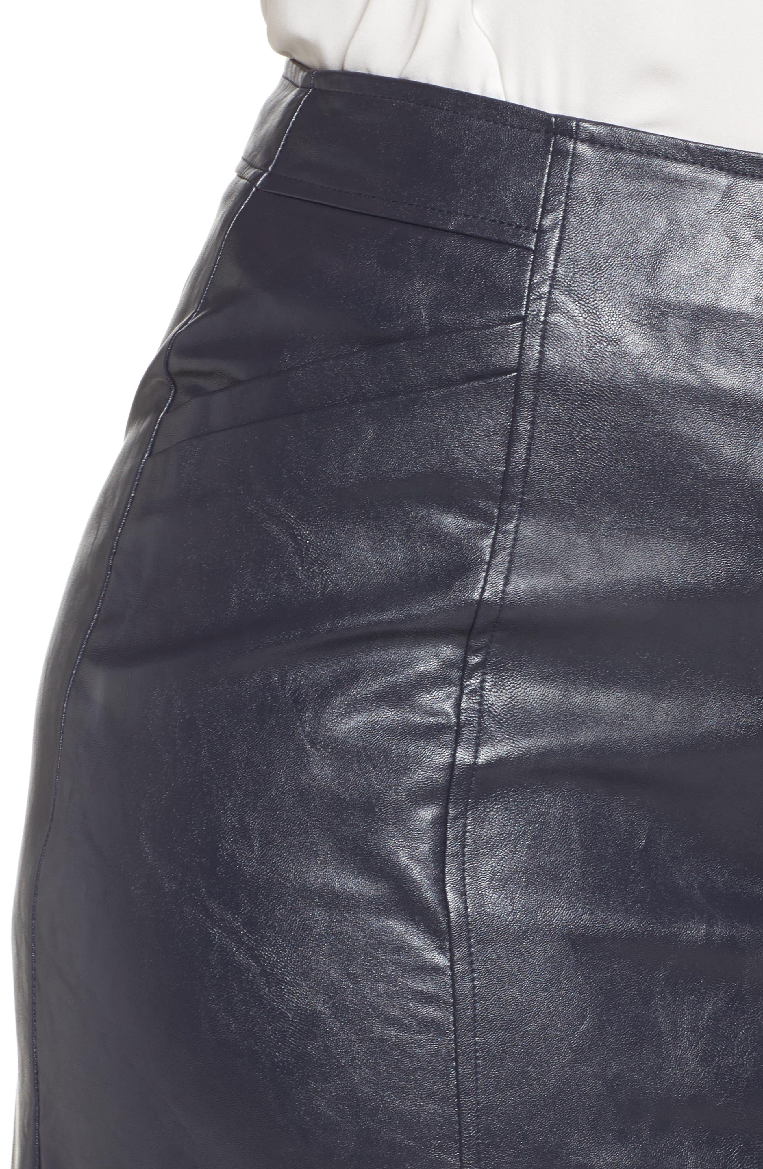 Faux Leather Pencil Skirt,                             Alternate thumbnail 4, color,                             401