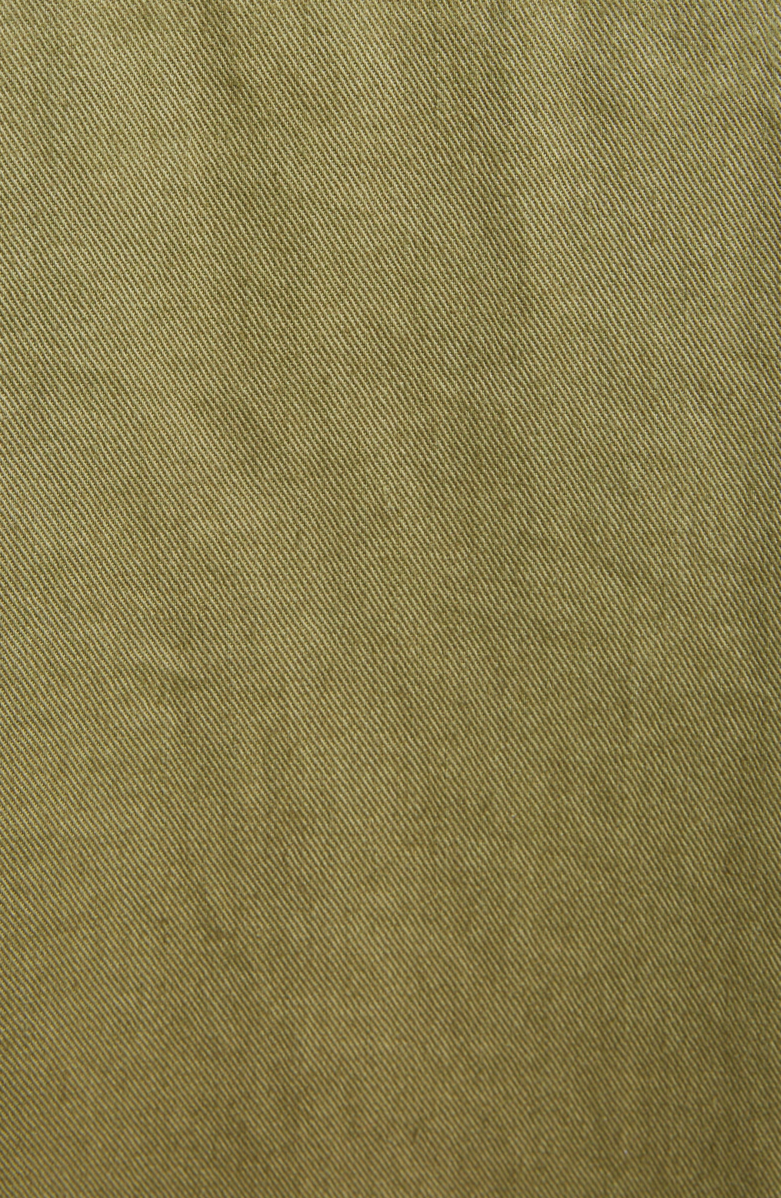 SAINT LAURENT,                             Military Logo Charm Shirt,                             Alternate thumbnail 5, color,                             OLIVE