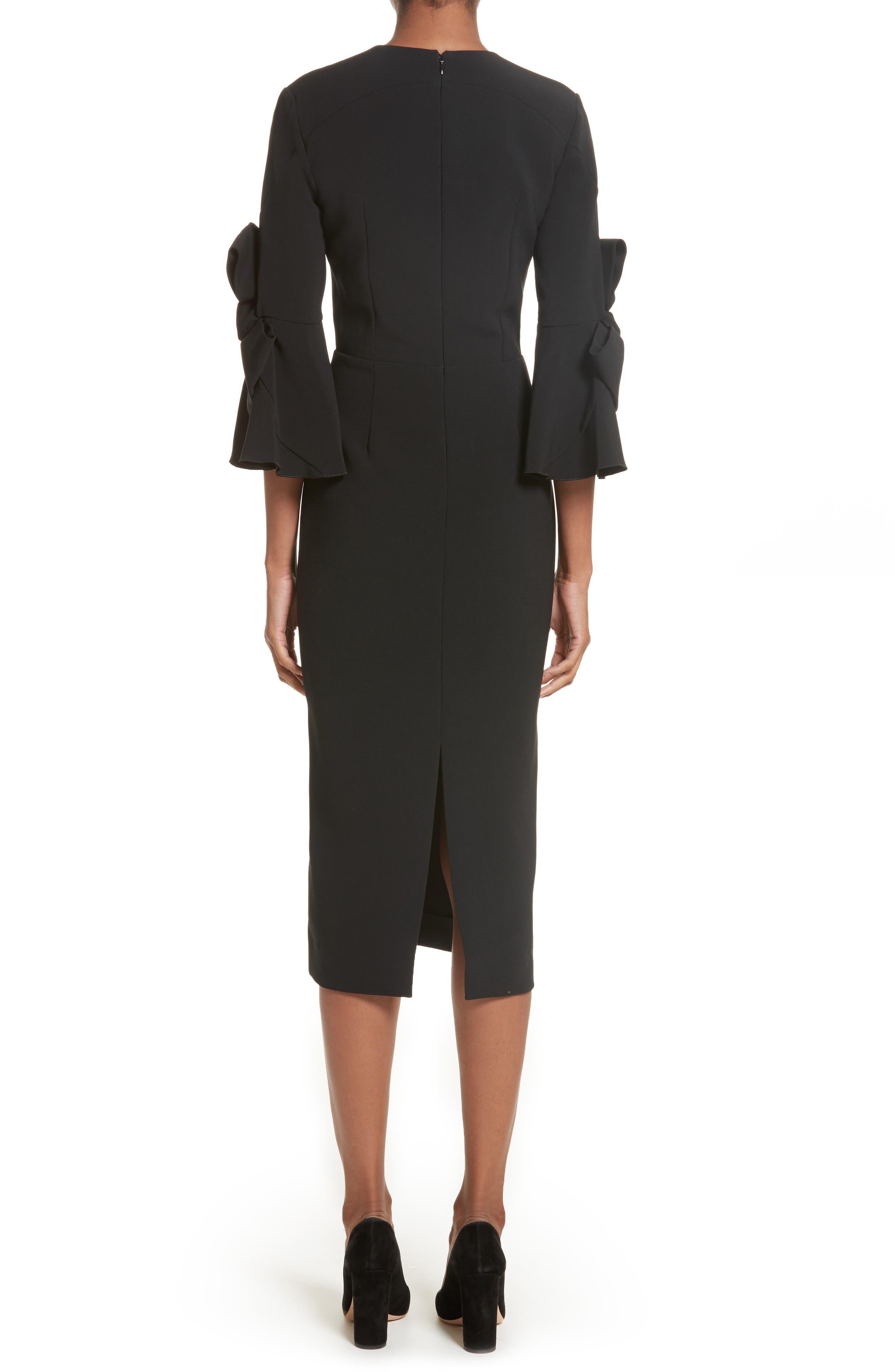 Lavete Stretch Crepe Midi Dress,                             Alternate thumbnail 2, color,                             BLACK