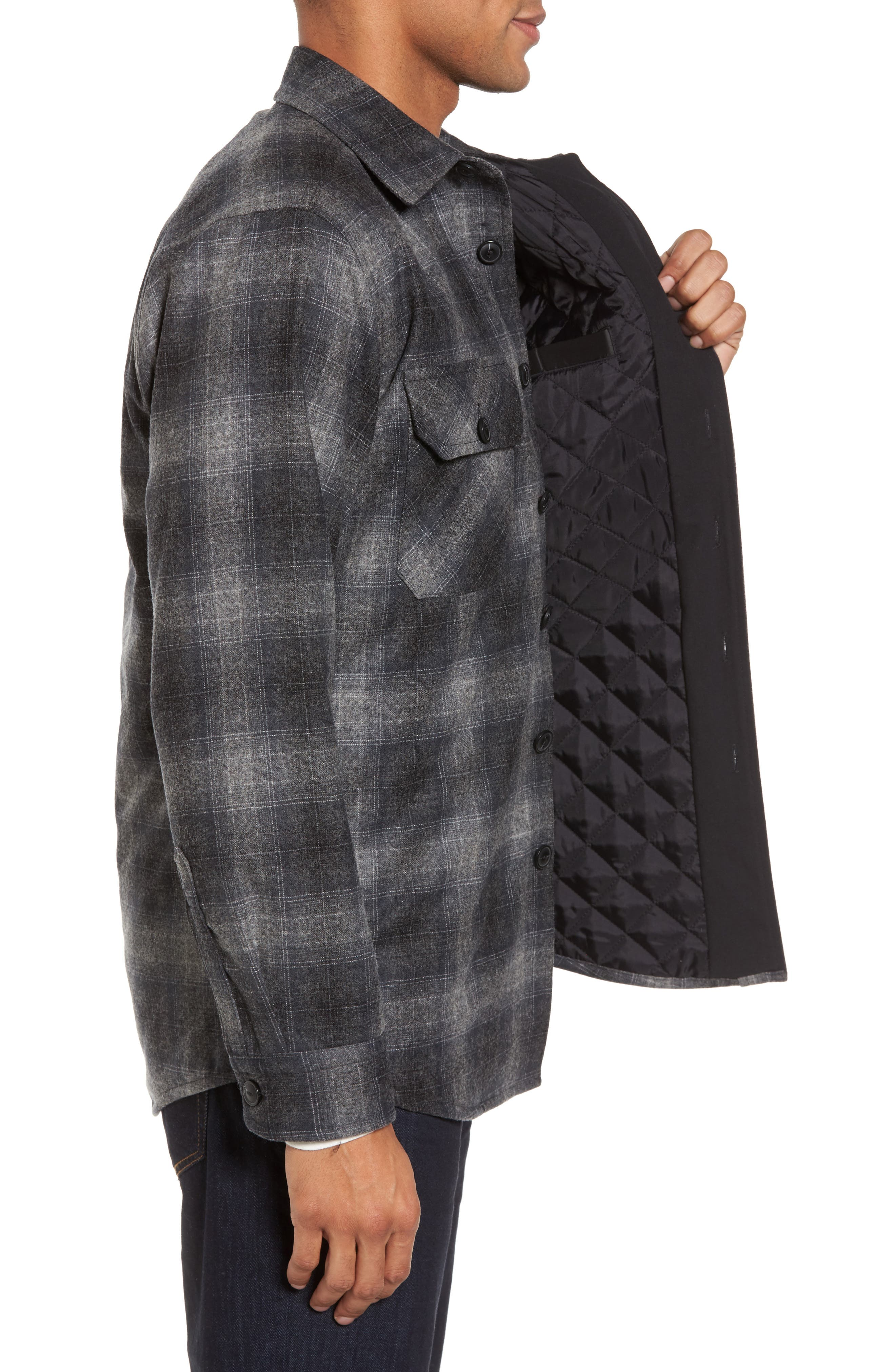Quilted Wool Shirt Jacket,                             Alternate thumbnail 3, color,                             020