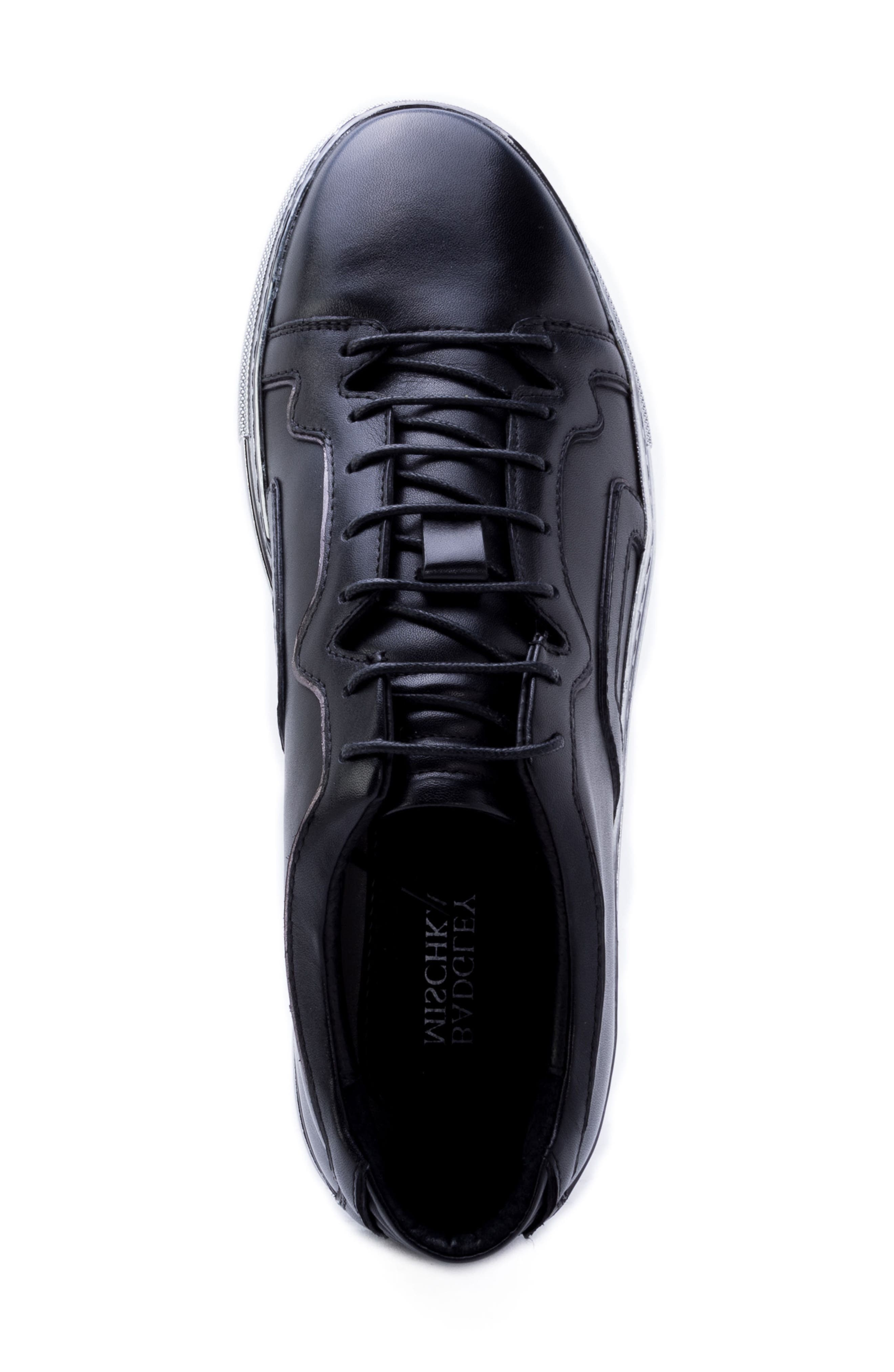 Caine Sneaker,                             Alternate thumbnail 5, color,                             BLACK LEATHER