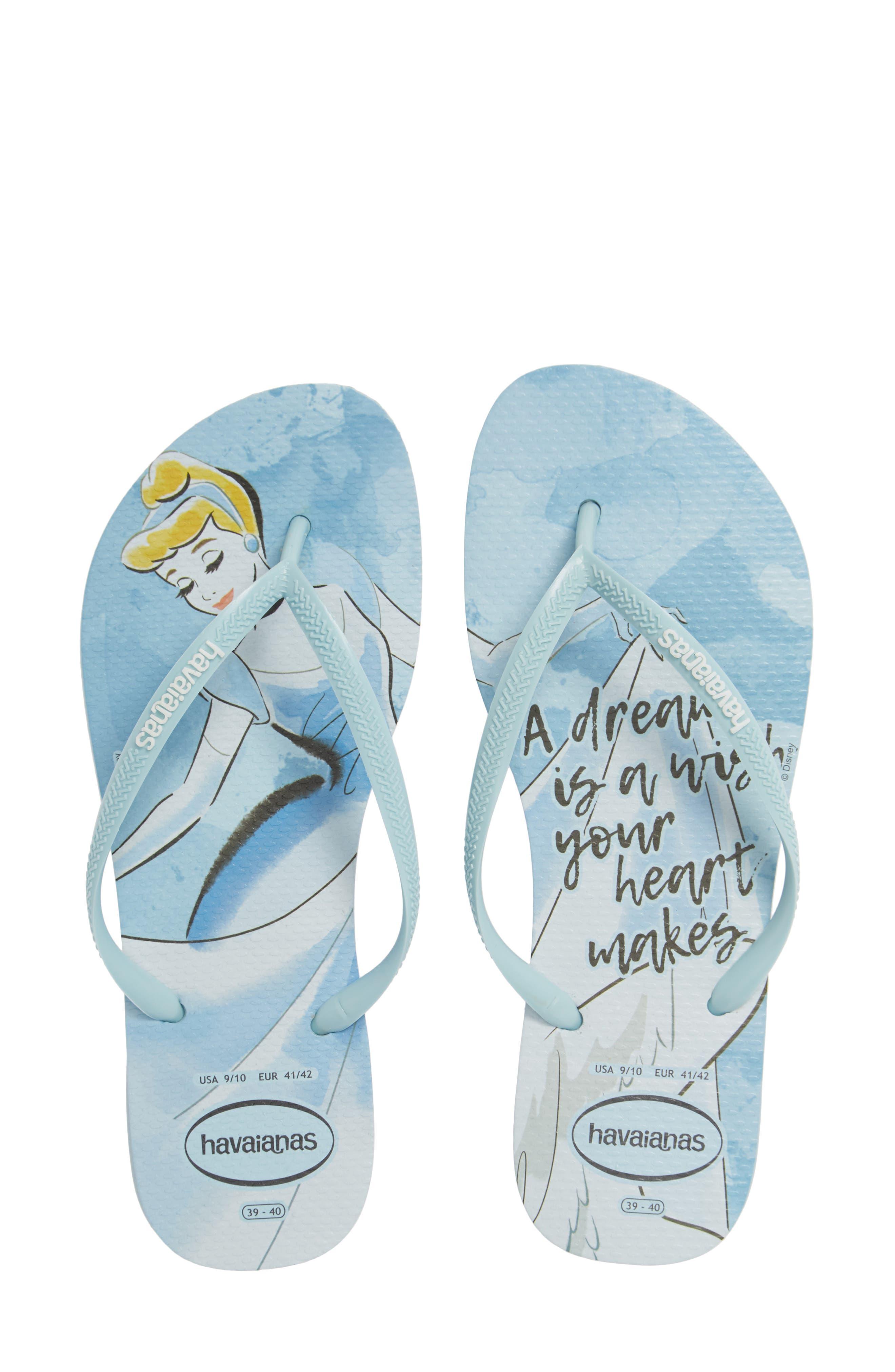 Havaiana Slim - Disney Princess Flip Flop,                         Main,                         color, BLUE AQUA