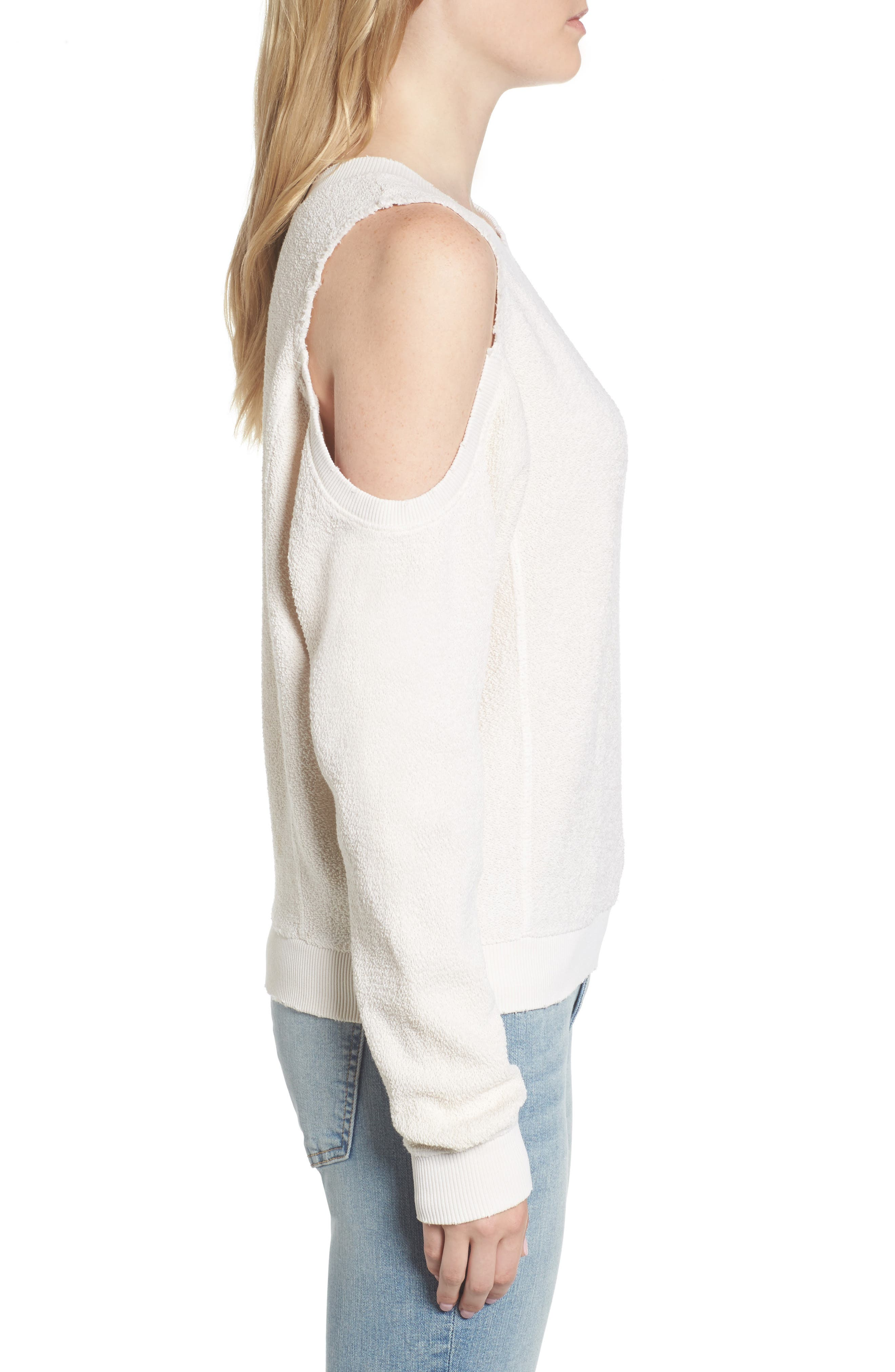 Maia Cold Shoulder Reversed Sweatshirt,                             Alternate thumbnail 3, color,                             100