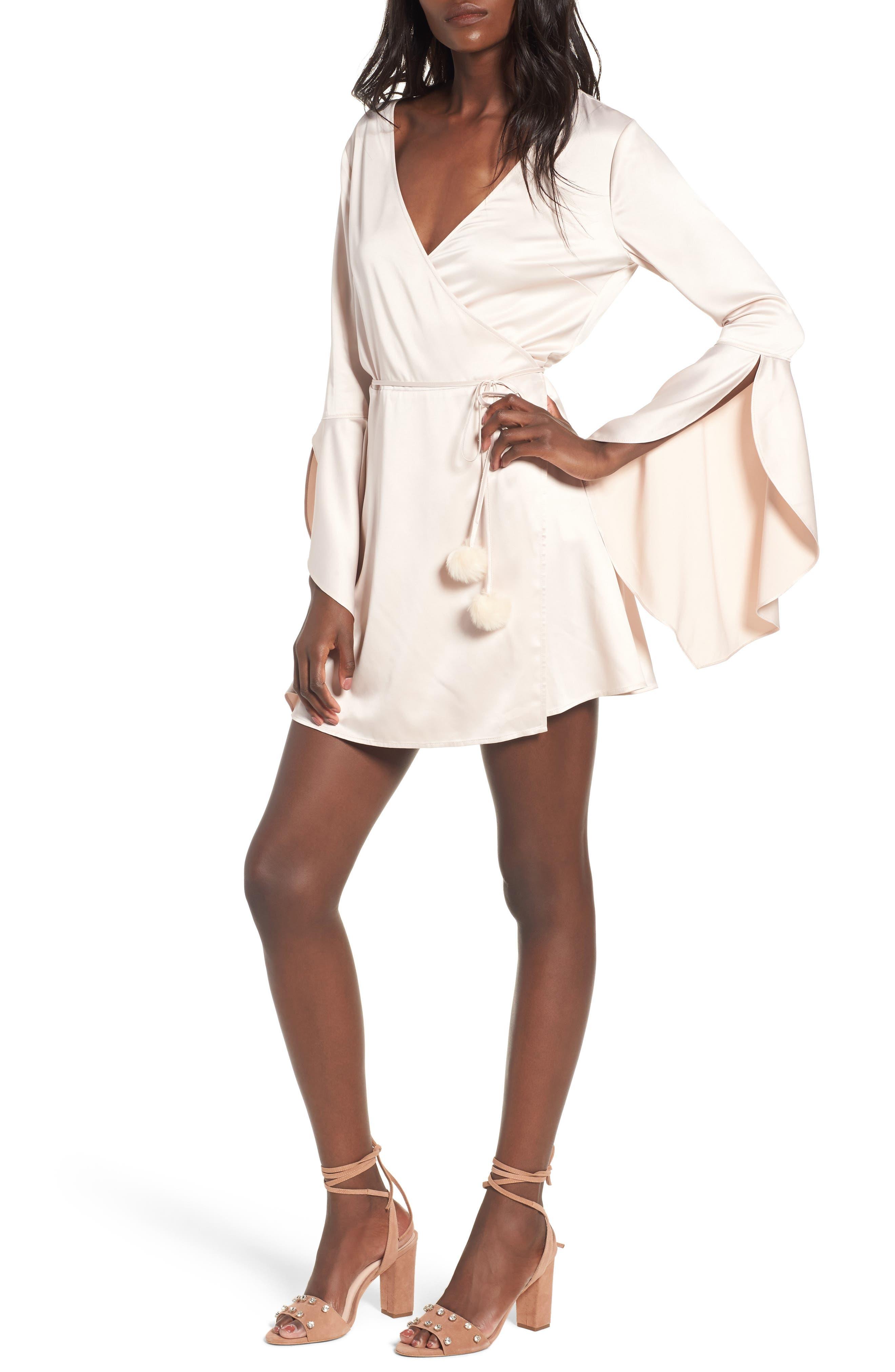 Hex Wrap Minidress,                             Main thumbnail 1, color,                             900