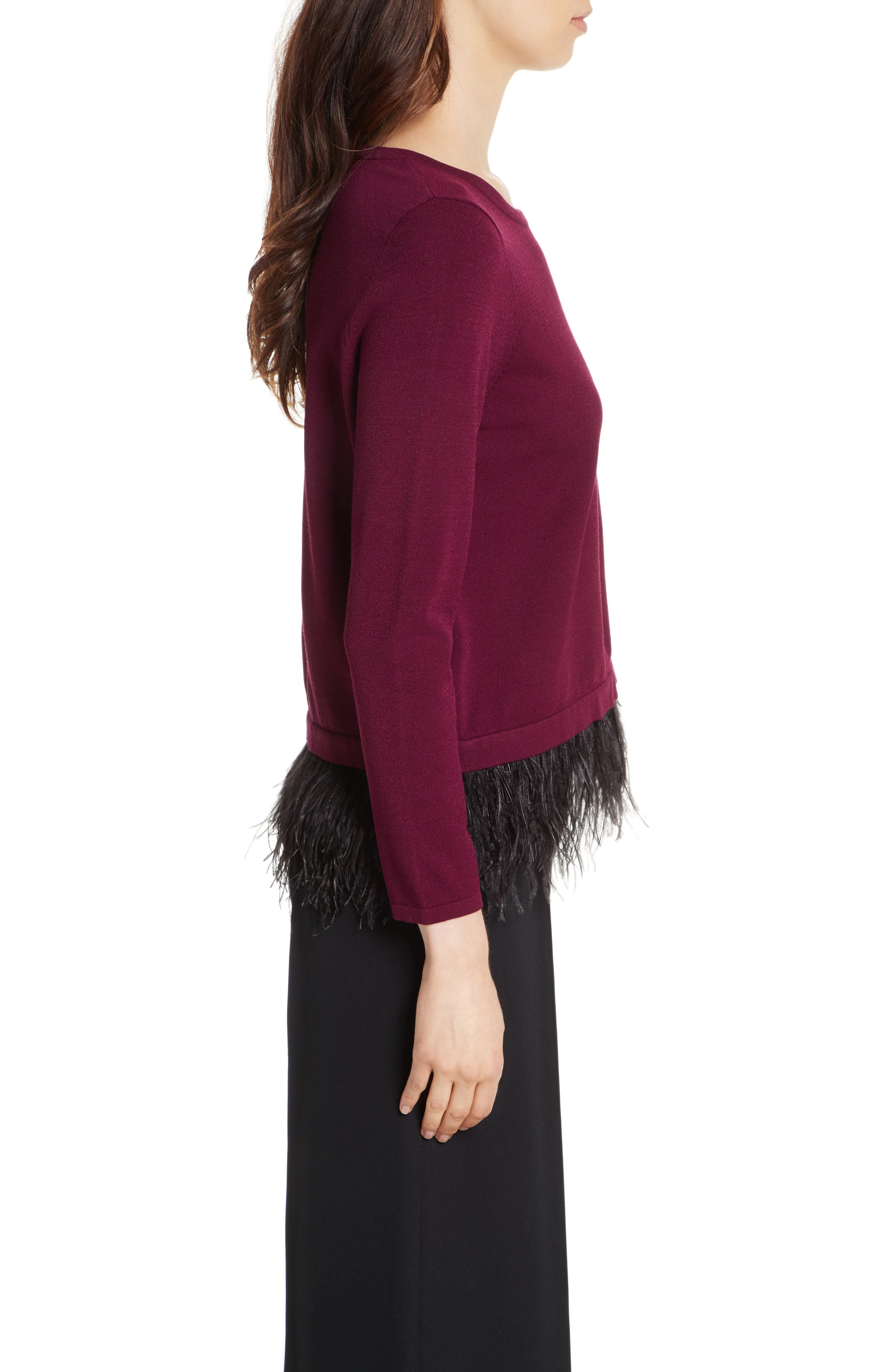 Feather Trim Sweater,                             Alternate thumbnail 3, color,                             931