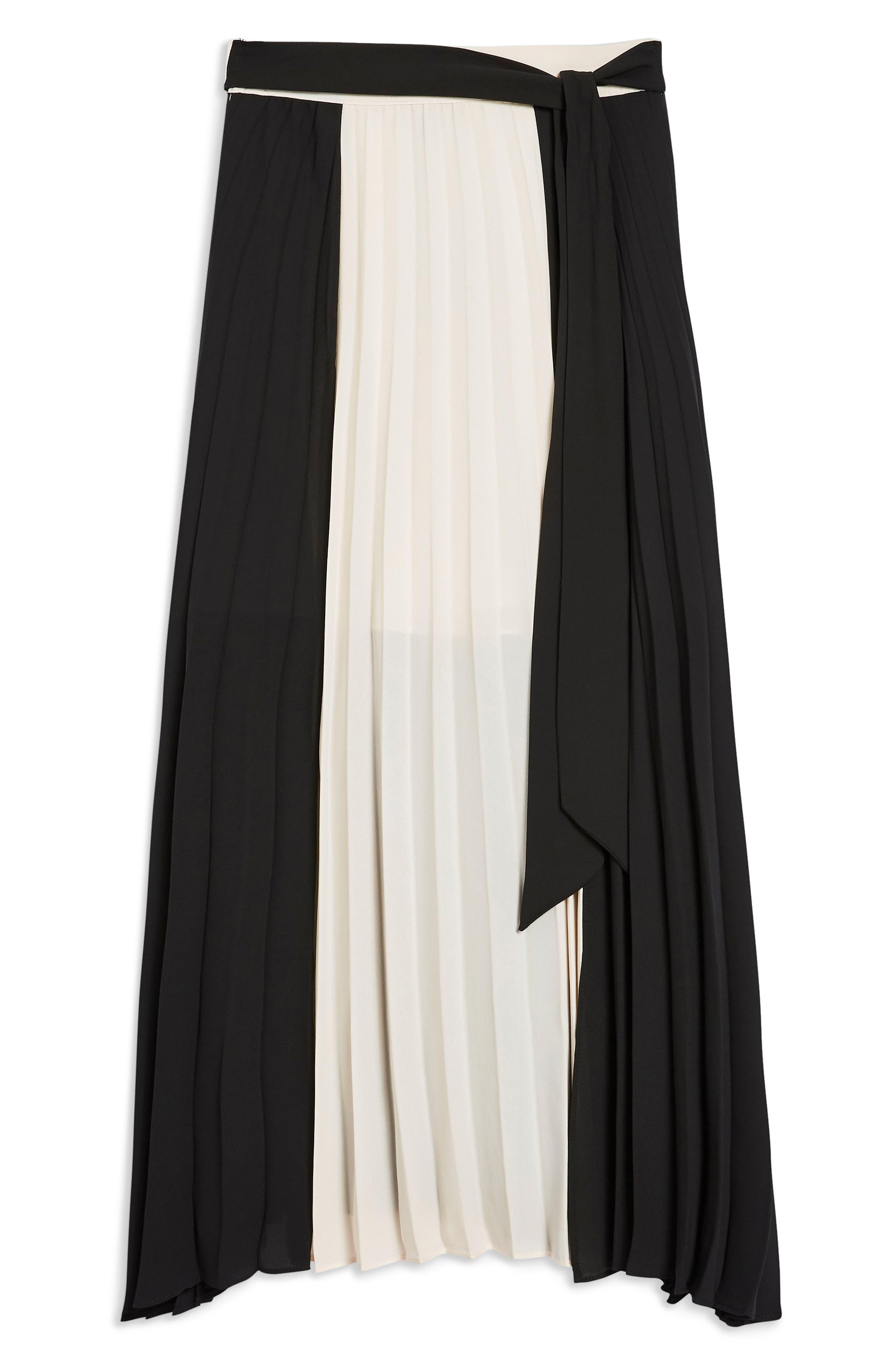 Colorblock Pleated Midi Skirt,                             Alternate thumbnail 4, color,                             BLACK MULTI