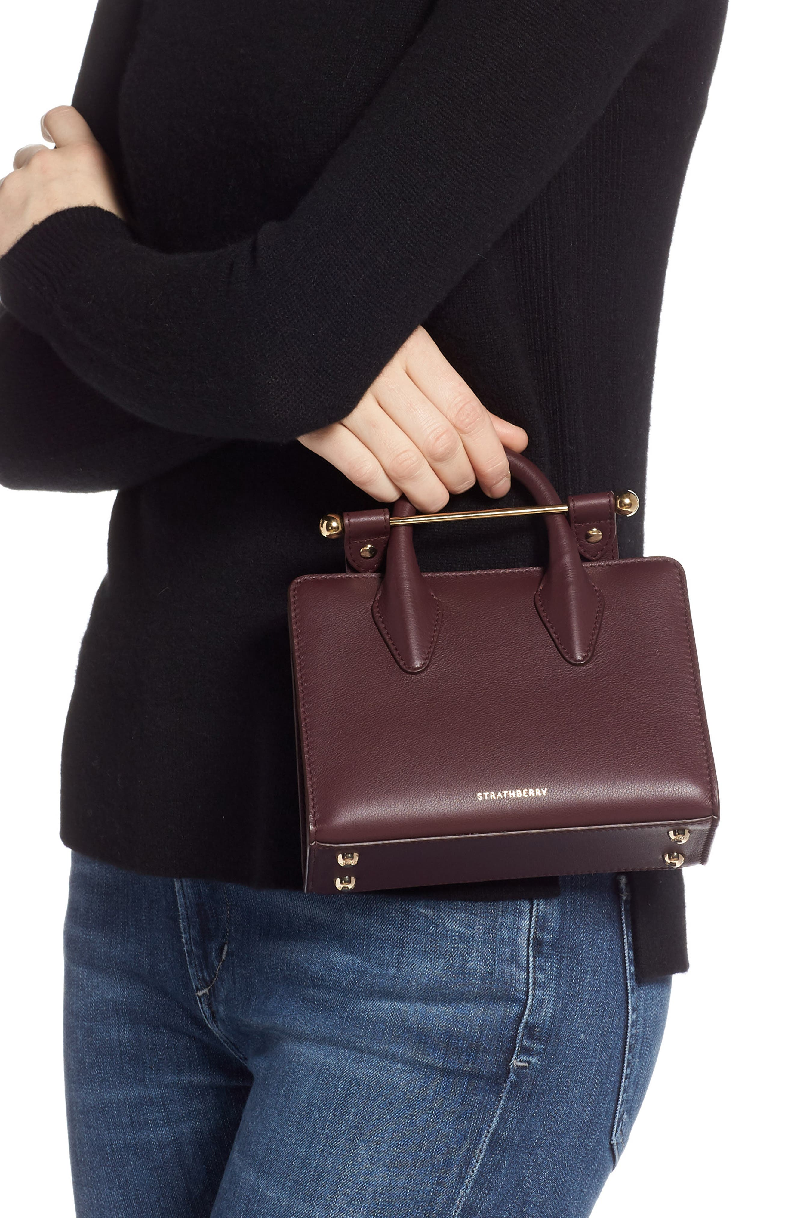 Nano Leather Tote,                             Alternate thumbnail 2, color,                             BURGUNDY