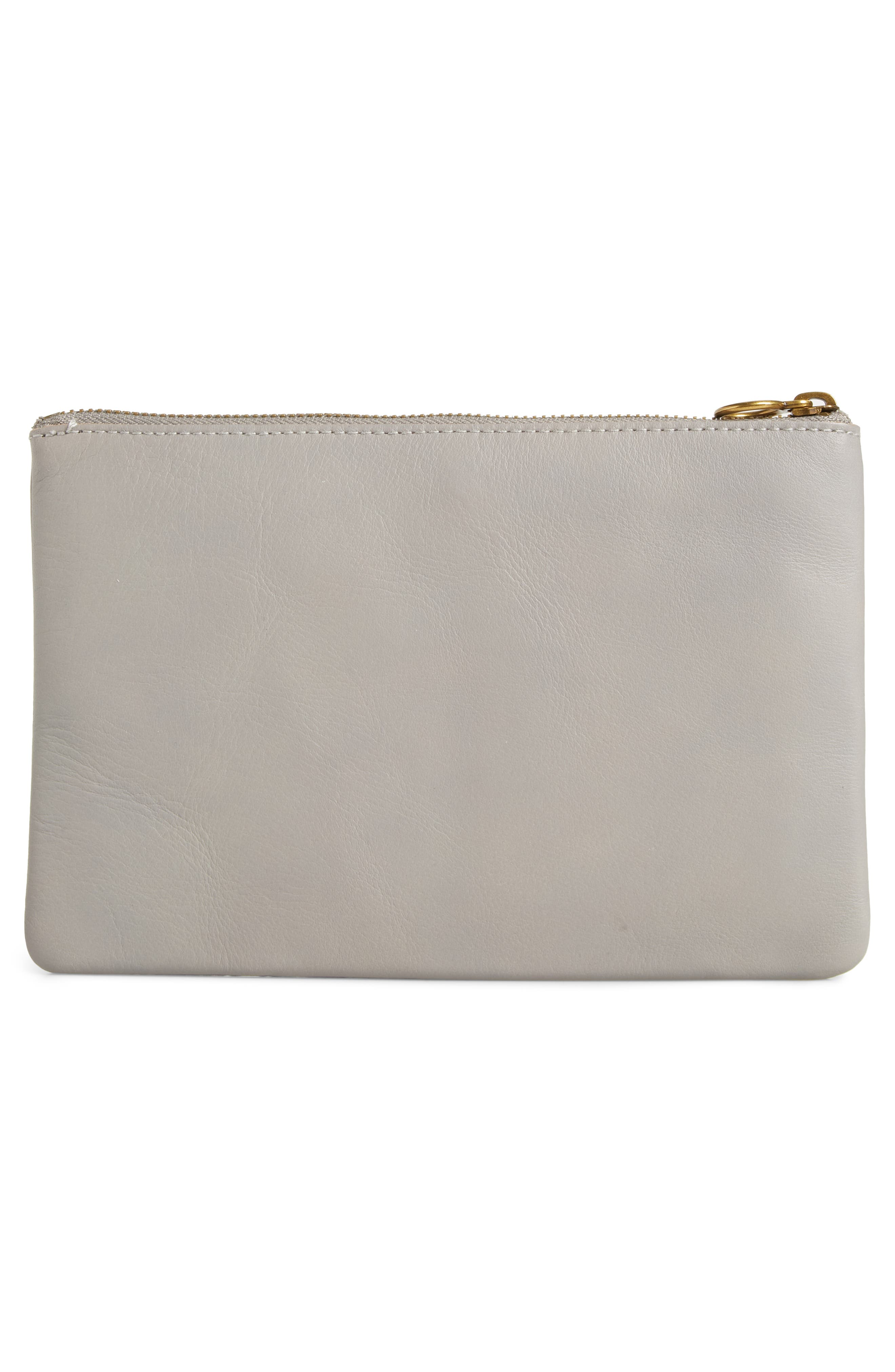 The Leather Pouch Clutch,                             Alternate thumbnail 3, color,                             STONEWALL