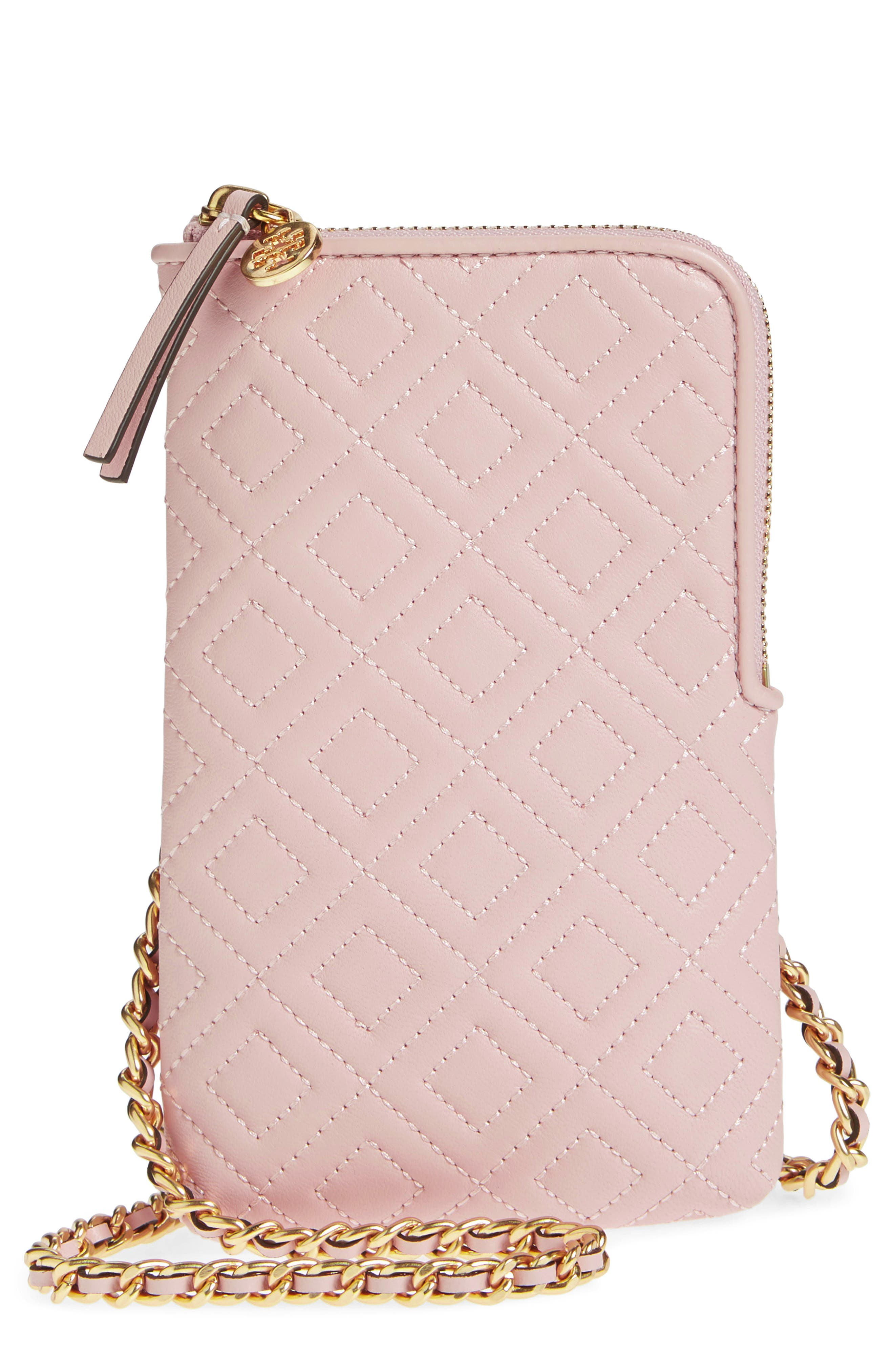 Fleming Lambskin Leather Phone Crossbody Bag,                             Main thumbnail 1, color,                             SHELL PINK