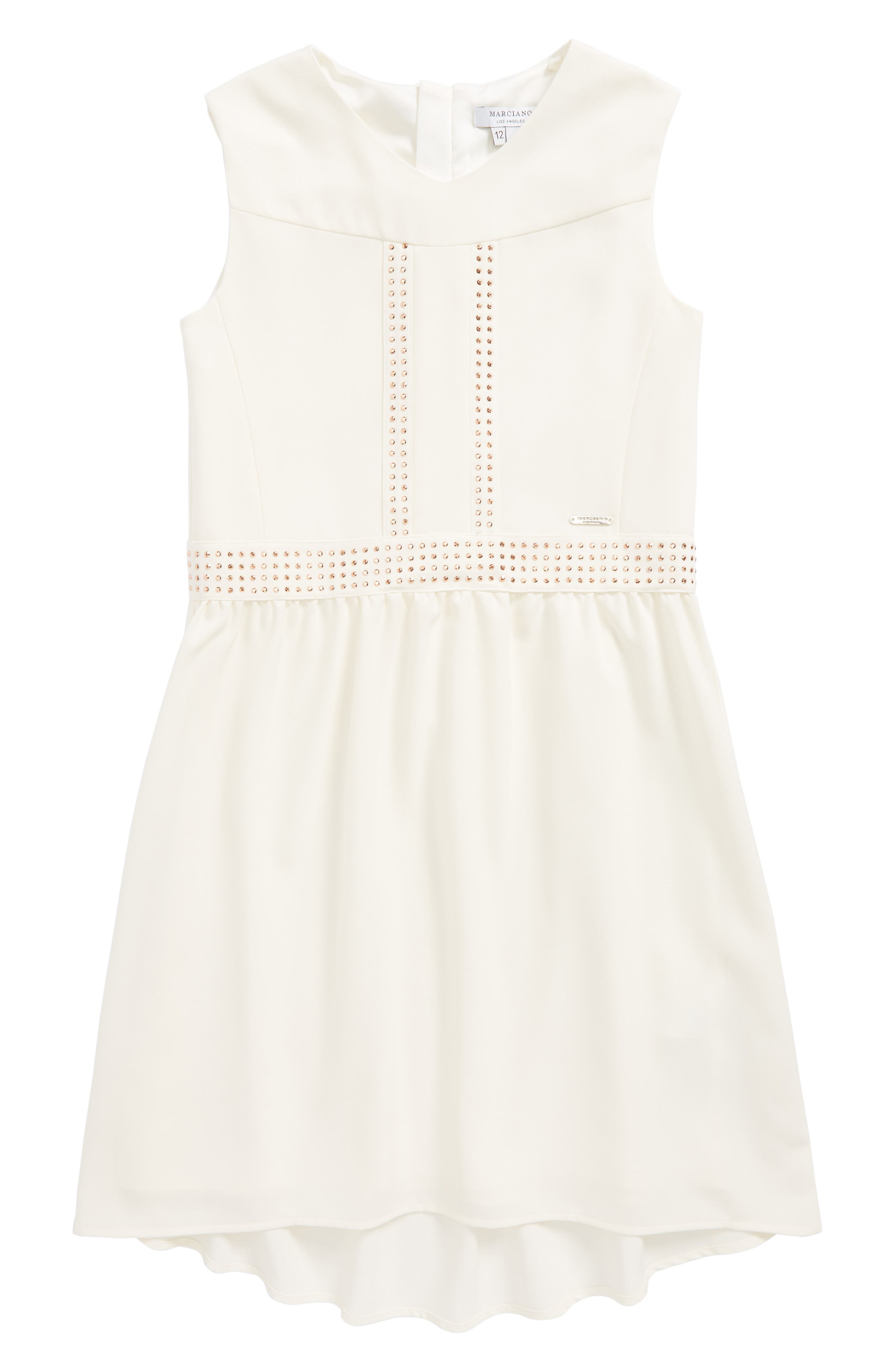 Embellished Crepe High/Low Dress,                             Main thumbnail 1, color,                             196