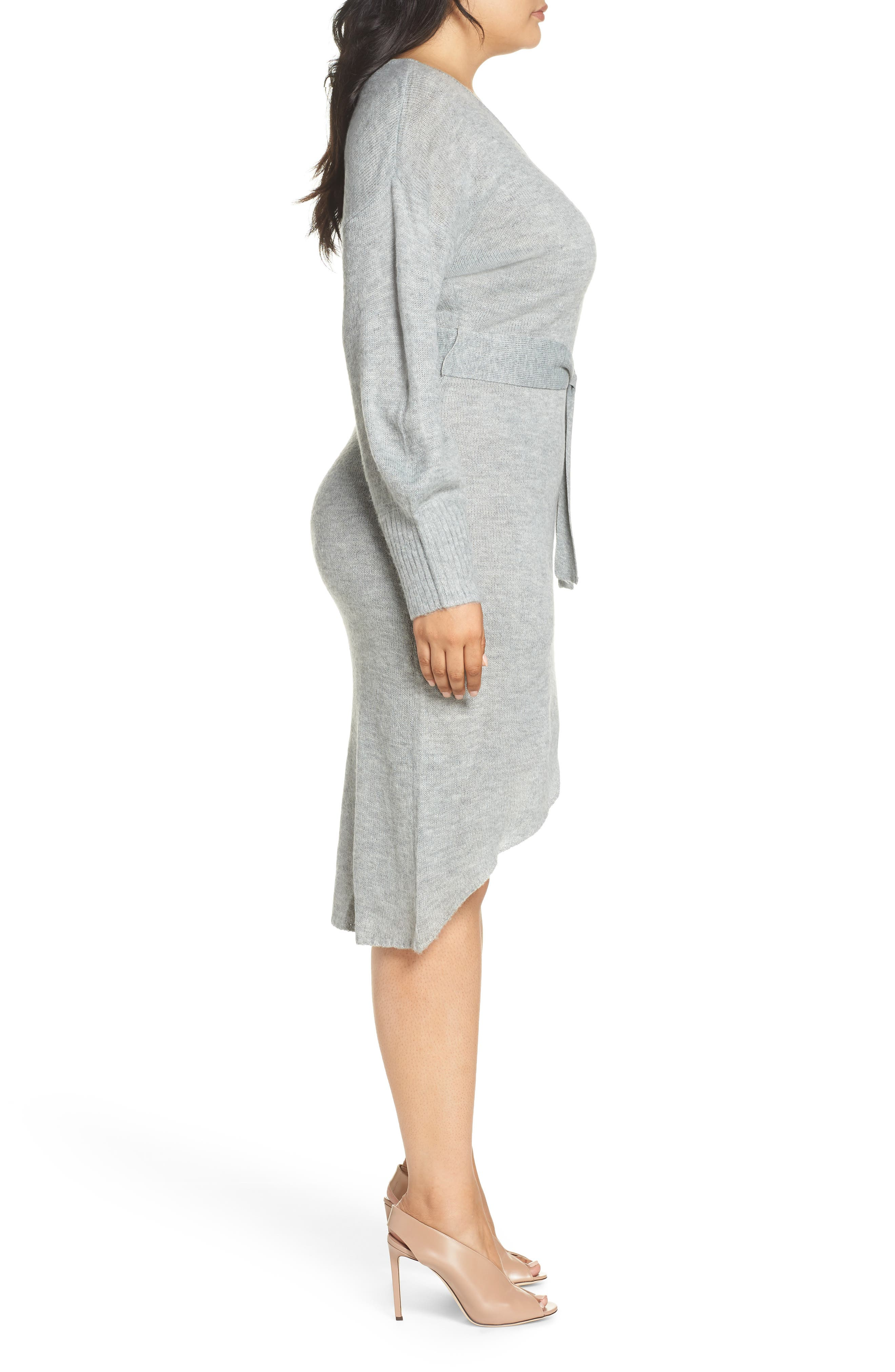 Belted Sweater Dress,                             Alternate thumbnail 3, color,                             GREY