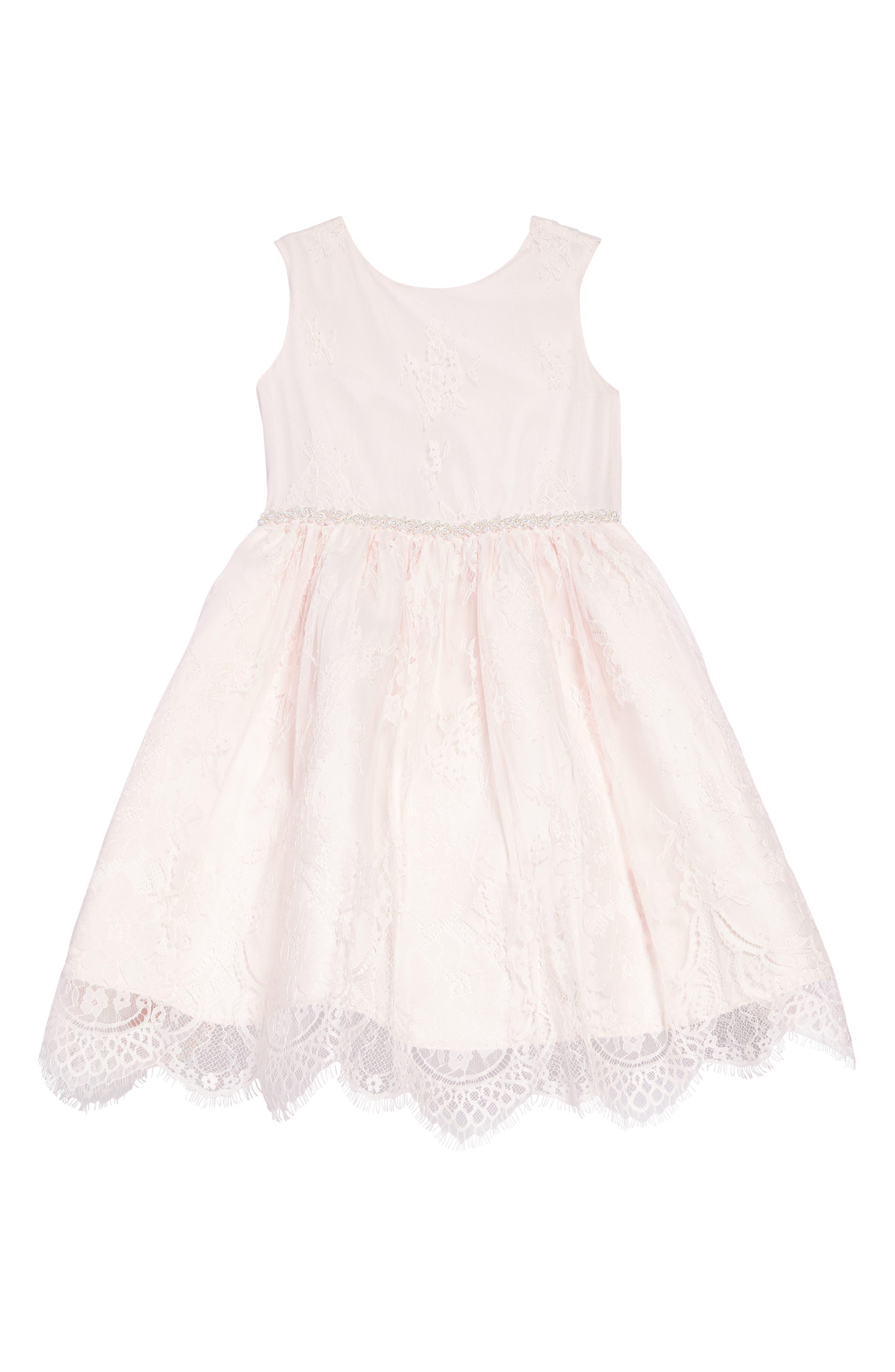 The Randi Floral Lace Dress,                         Main,                         color, BLUSH