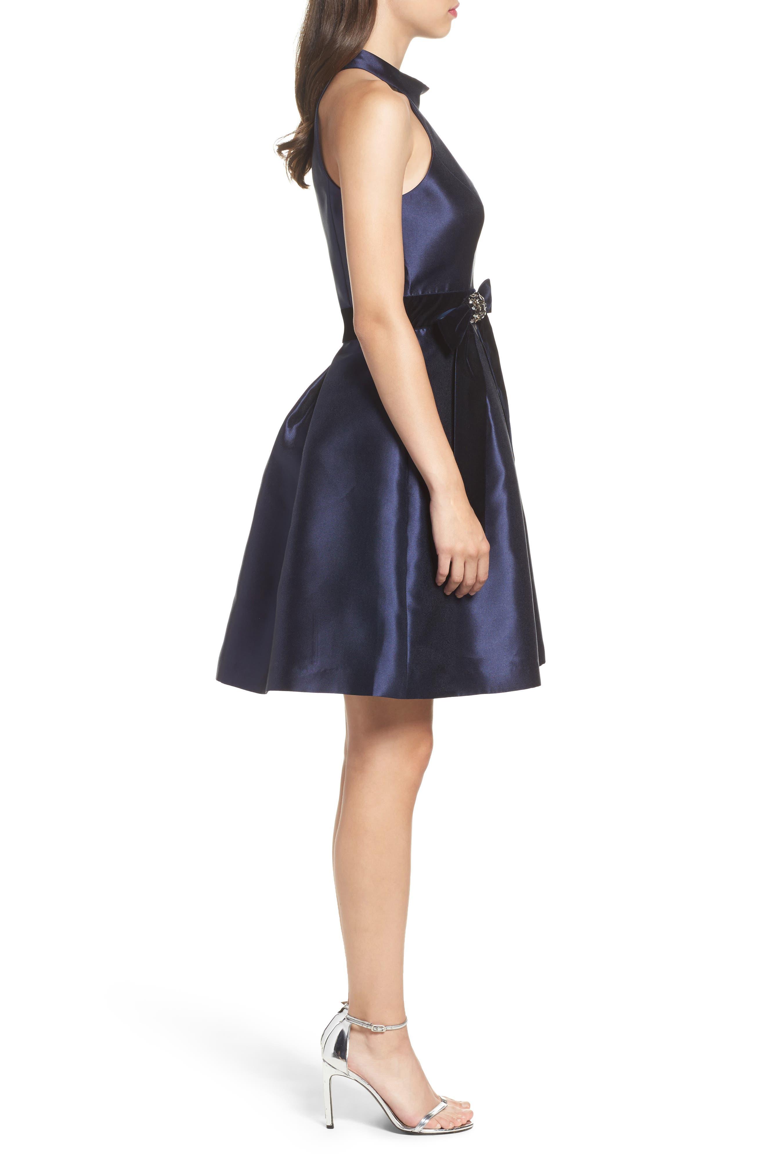 Halter Fit & Flare Dress,                             Alternate thumbnail 3, color,                             410