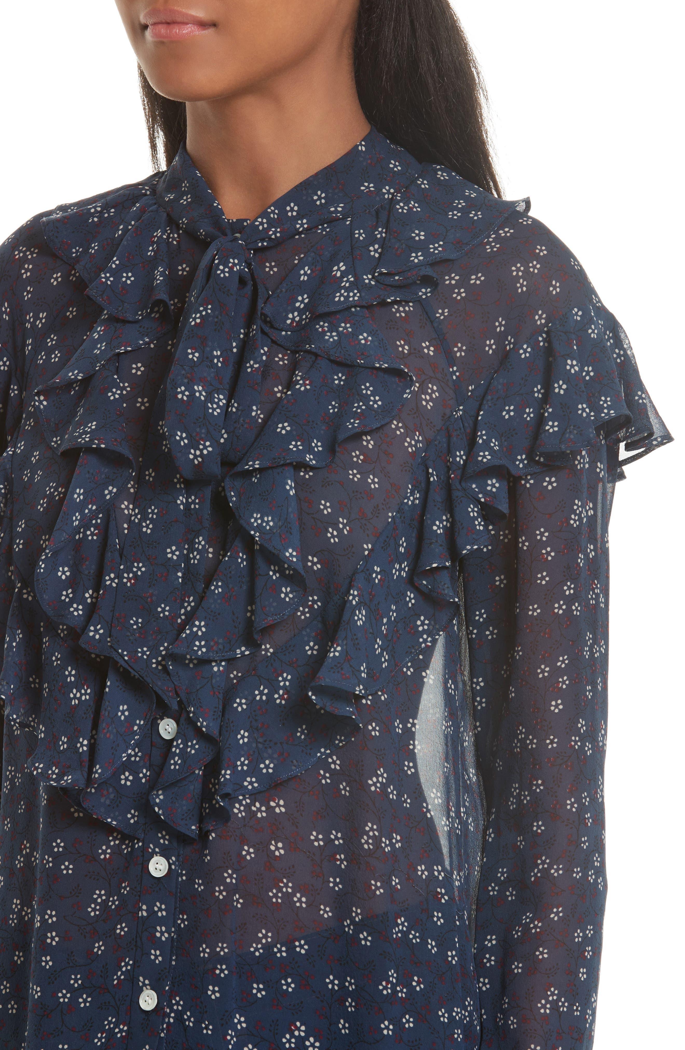 Finley Ruffle Tie Silk Top,                             Alternate thumbnail 4, color,                             410