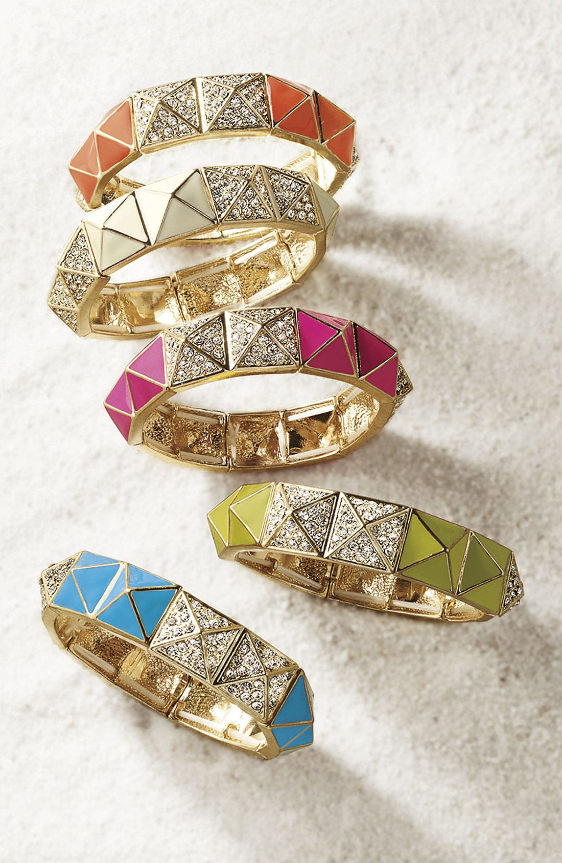 Pyramid Stretch Bracelet,                             Alternate thumbnail 3, color,                             001