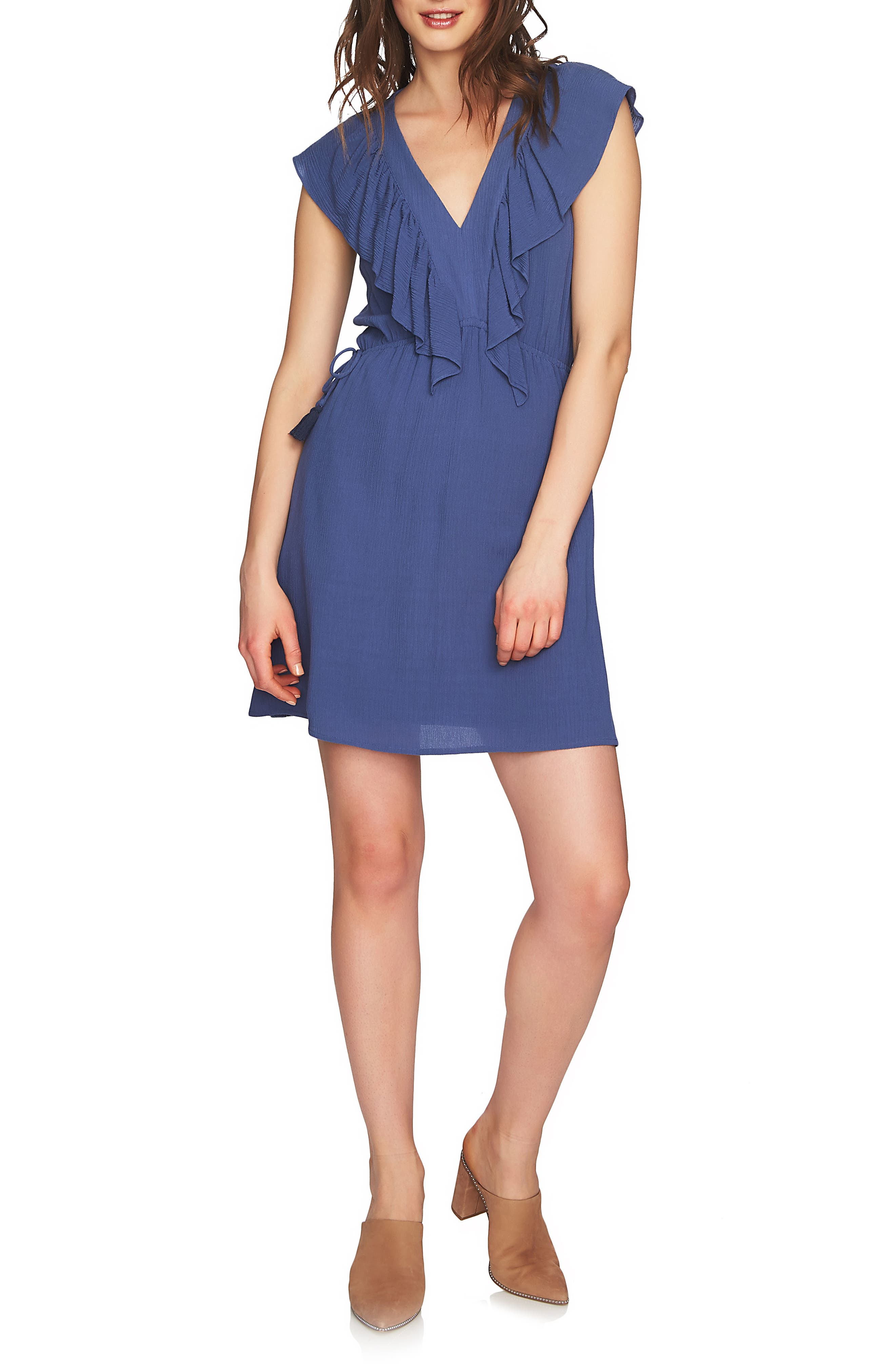 V-Neck Ruffle Edge Dress,                         Main,                         color, 577
