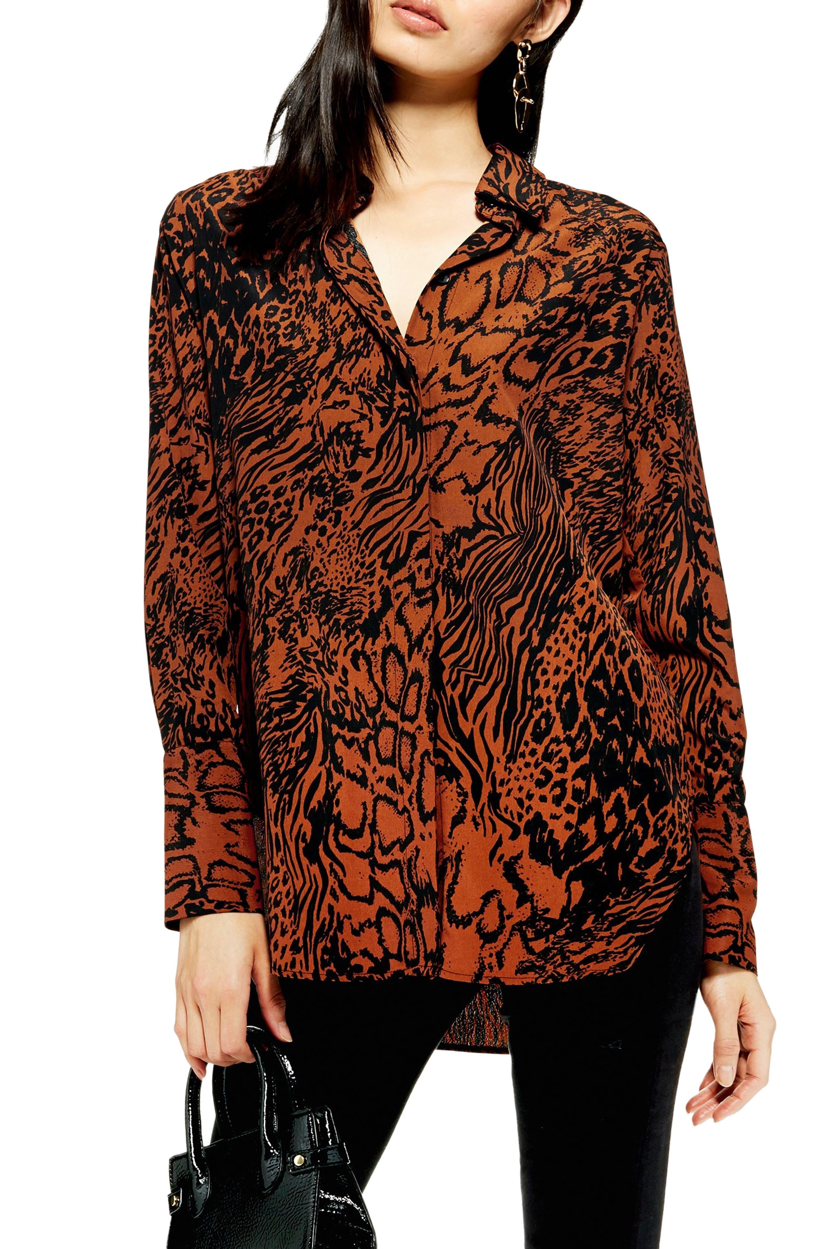 Mensy Snake Print Shirt,                         Main,                         color, BROWN MULTI