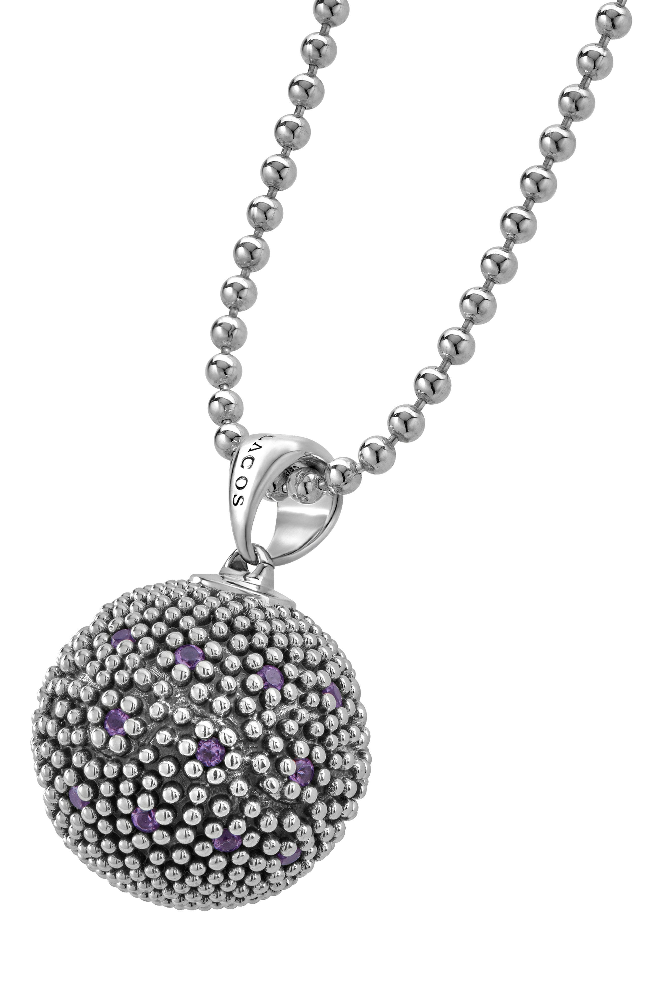Signature Gifts Pavé & Gemstone Ball Pendant,                             Alternate thumbnail 3, color,                             SILVER/ AMETHYST