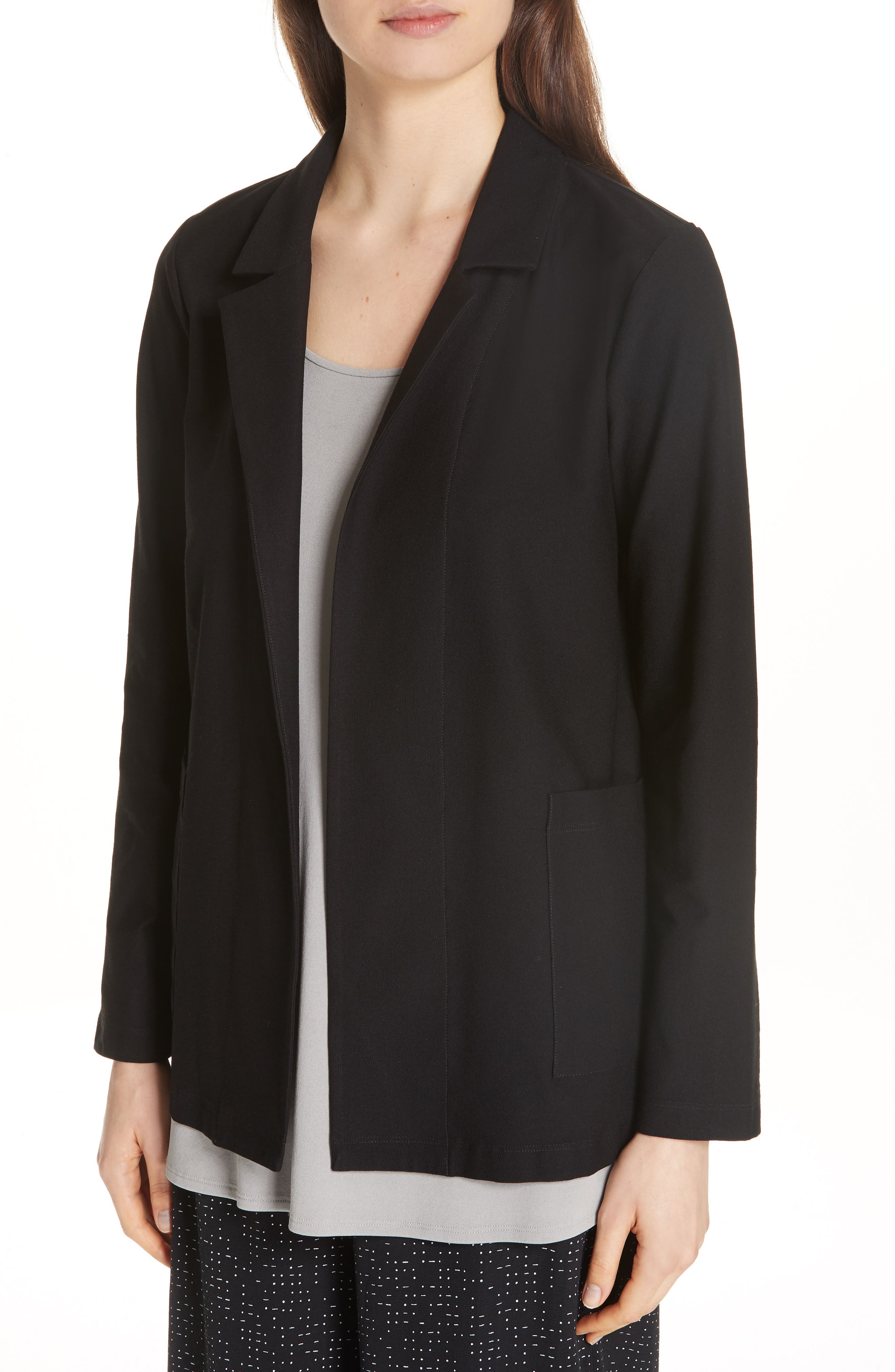 Classic Notch Collar Jacket,                             Alternate thumbnail 4, color,                             BLACK