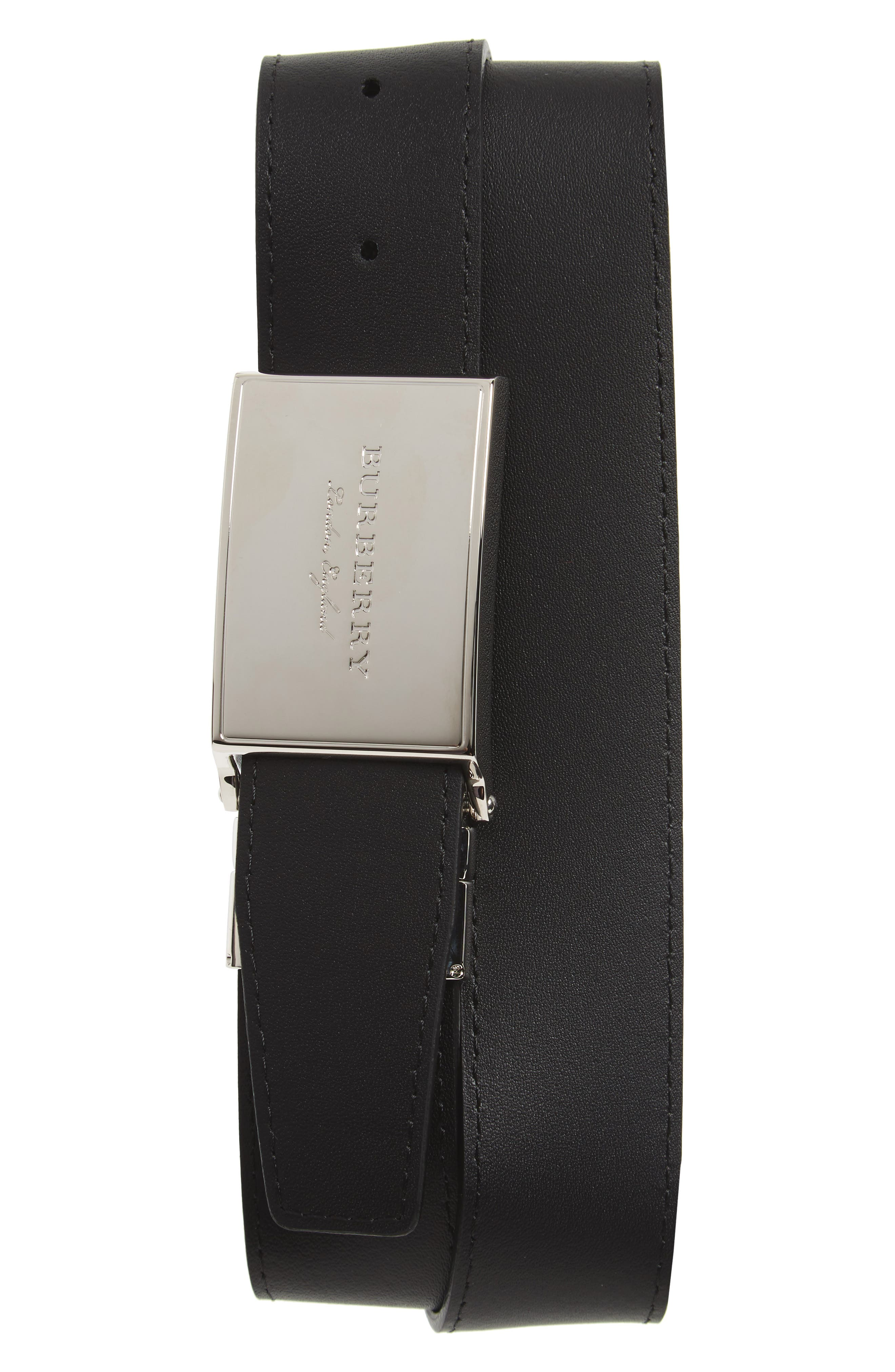 Check George Reversible Belt,                             Alternate thumbnail 2, color,                             CHARCOAL/ BLACK