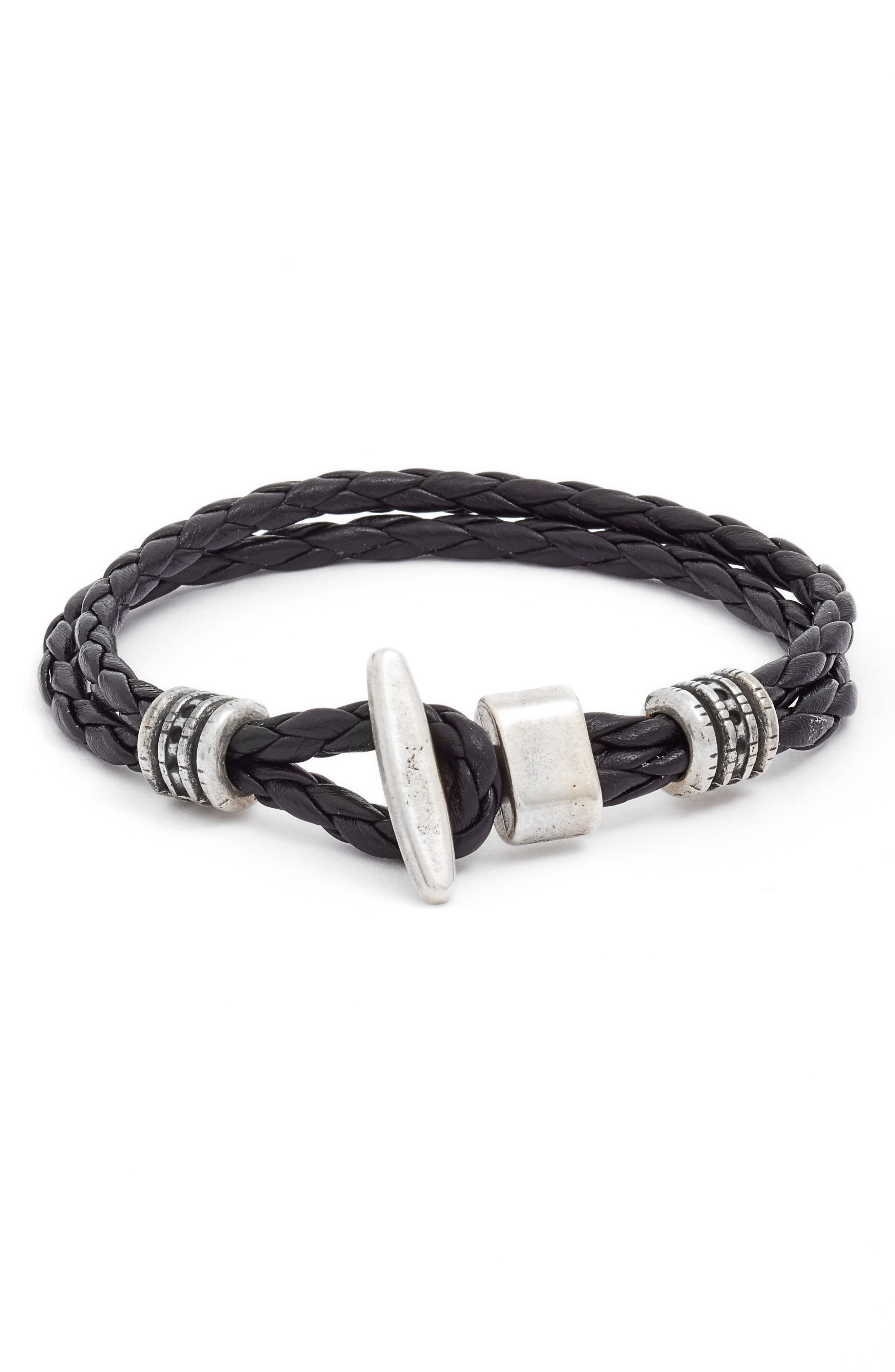 Braided Leather Bracelet,                             Alternate thumbnail 2, color,                             001