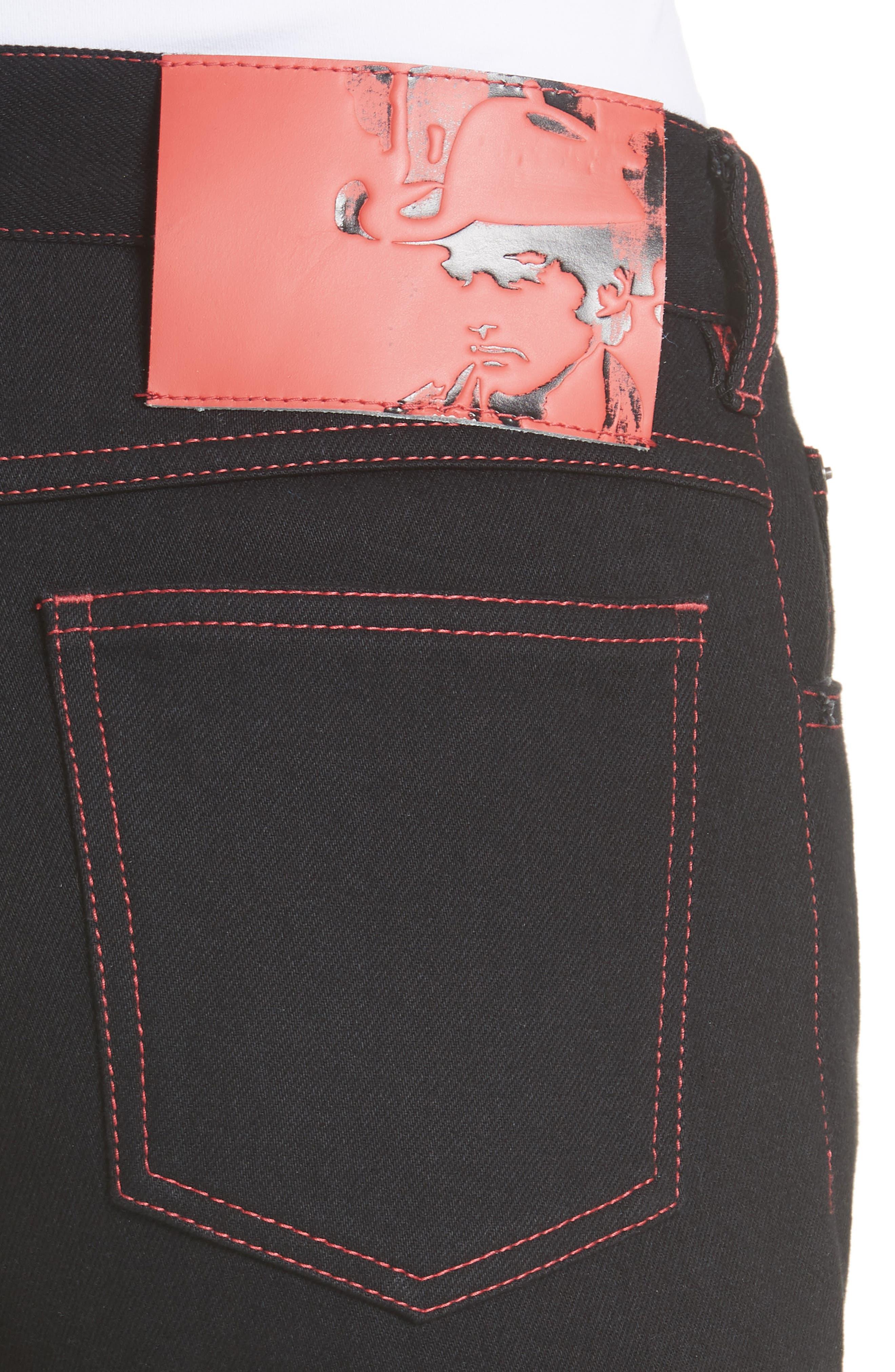 x Andy Warhol Foundation Dennis Hopper Straight Leg Jeans,                             Alternate thumbnail 4, color,                             BLACK