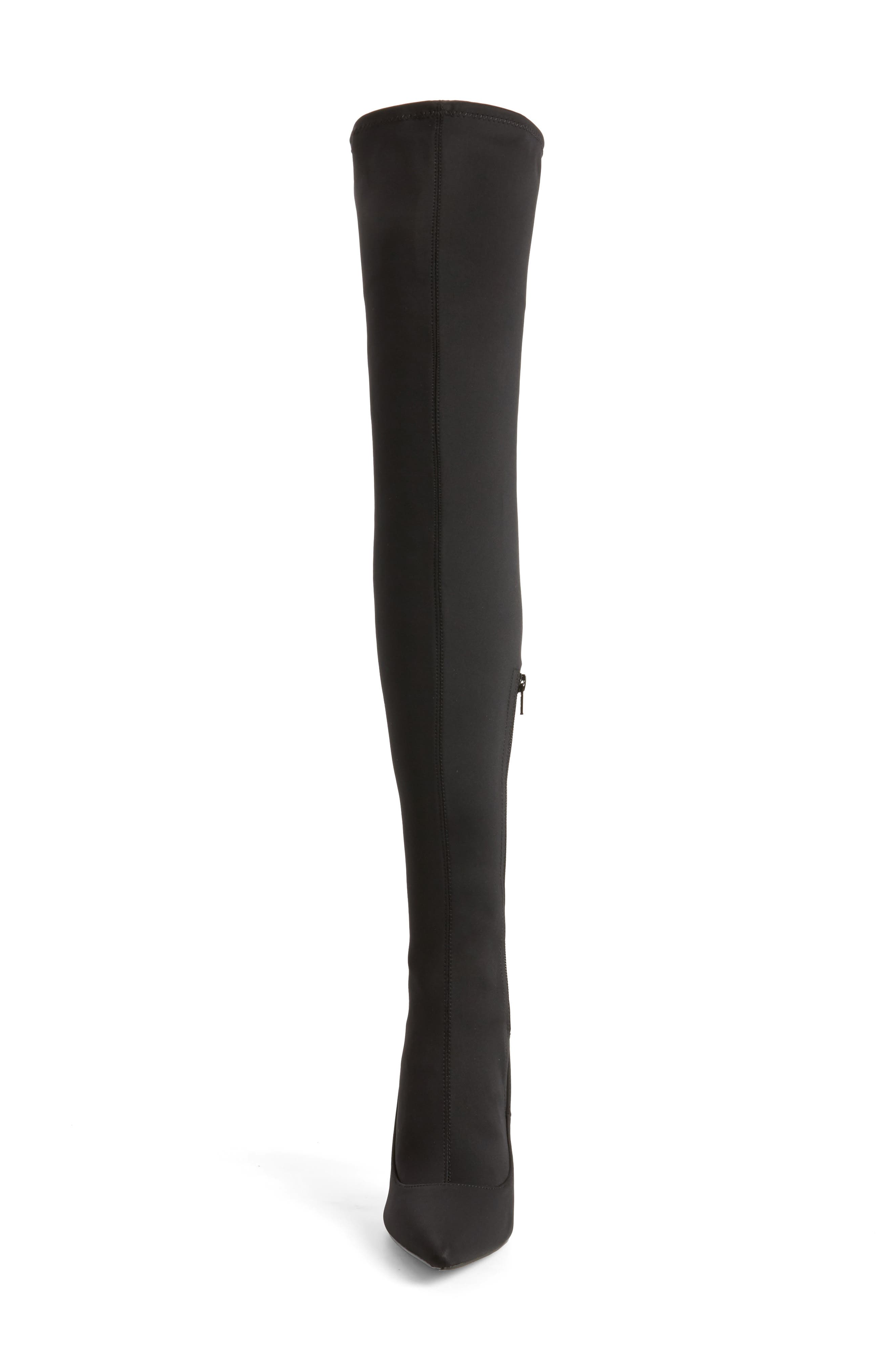 TOPSHOP,                             Bellini Stiletto Over the Knee Boot,                             Alternate thumbnail 4, color,                             001