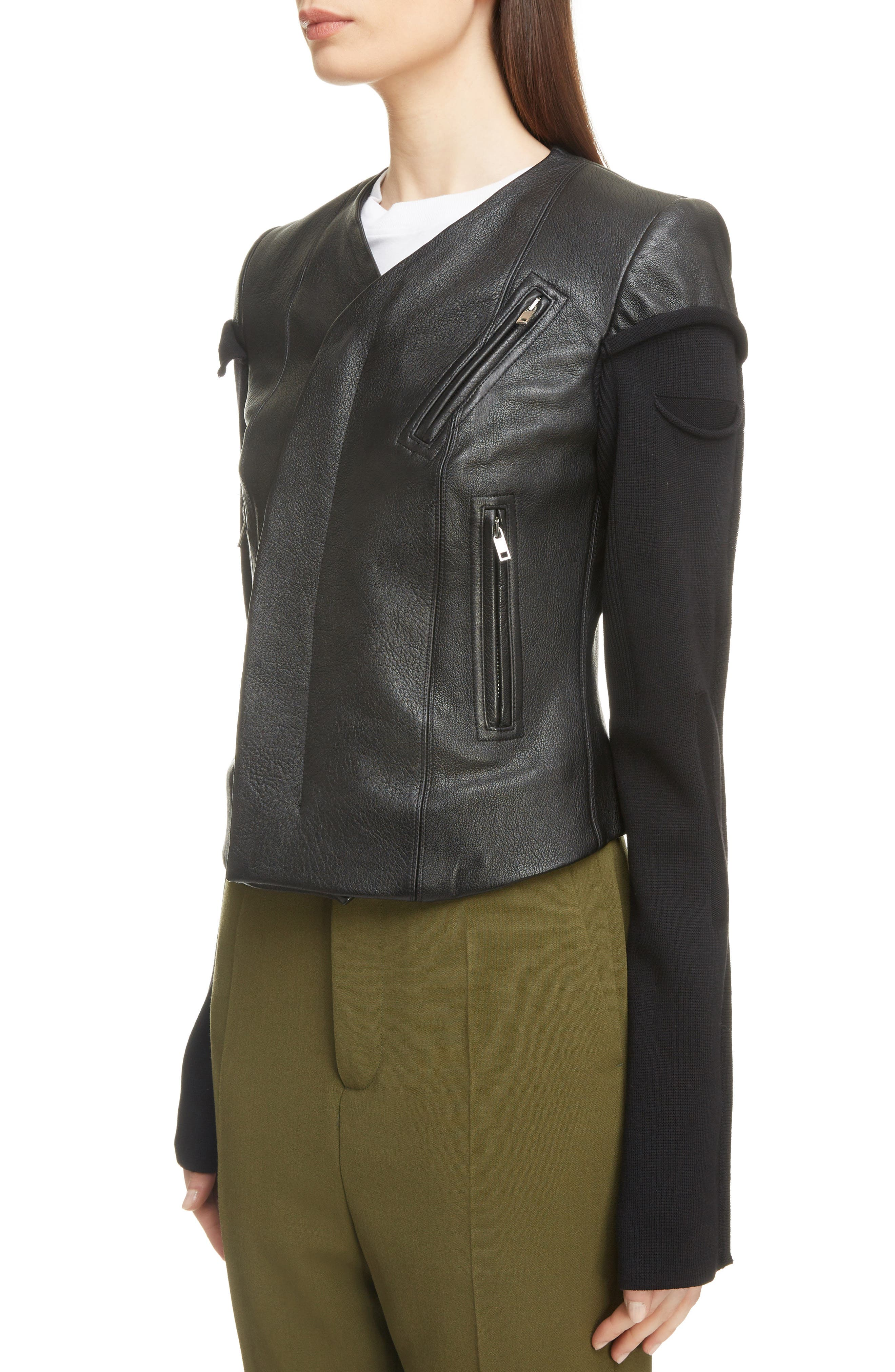 V-Neck Leather Biker Jacket,                             Alternate thumbnail 4, color,                             BLACK