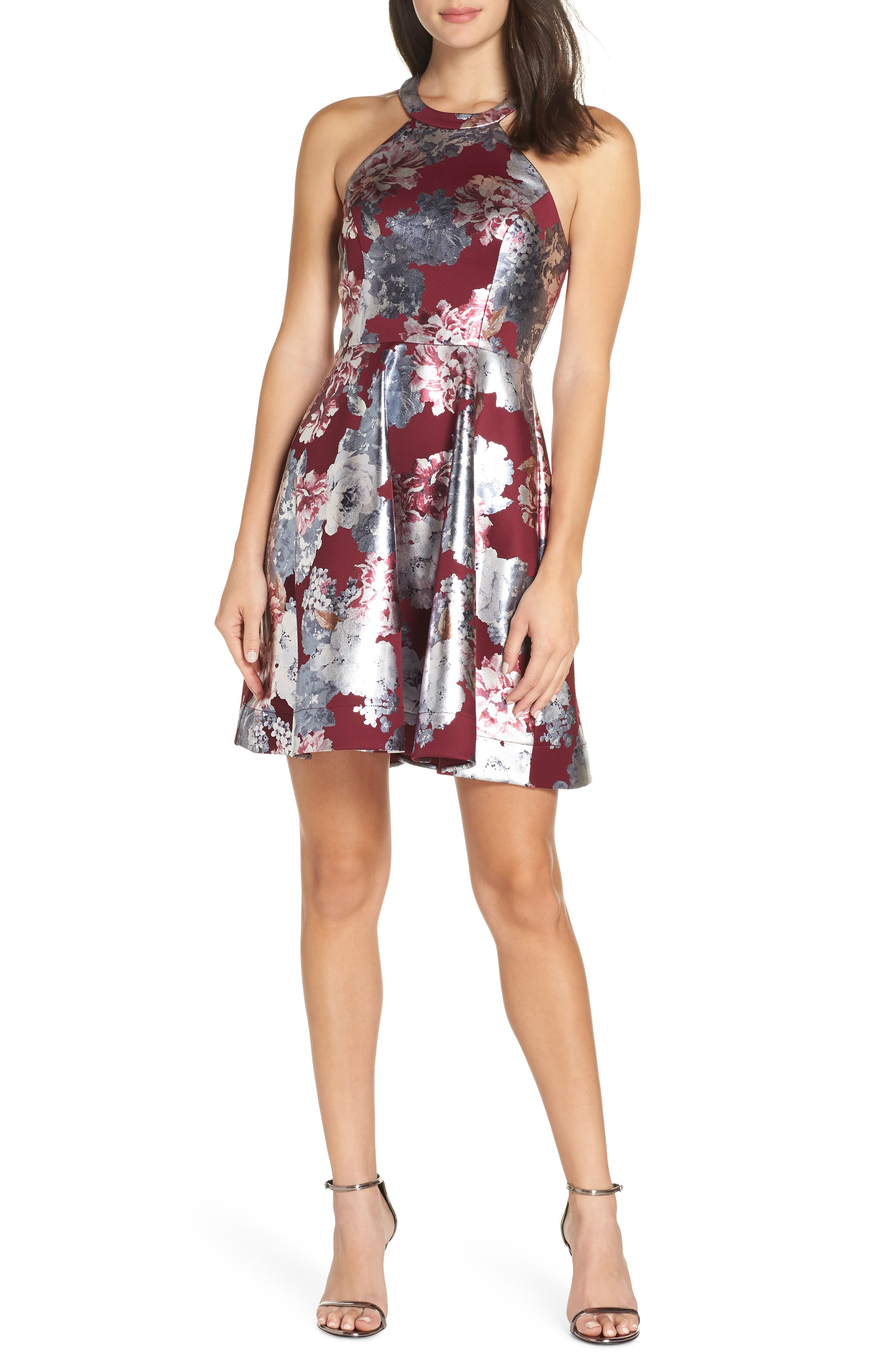 Foiled Floral Fit & Flare Dress,                         Main,                         color, MALBEC/ SILVER