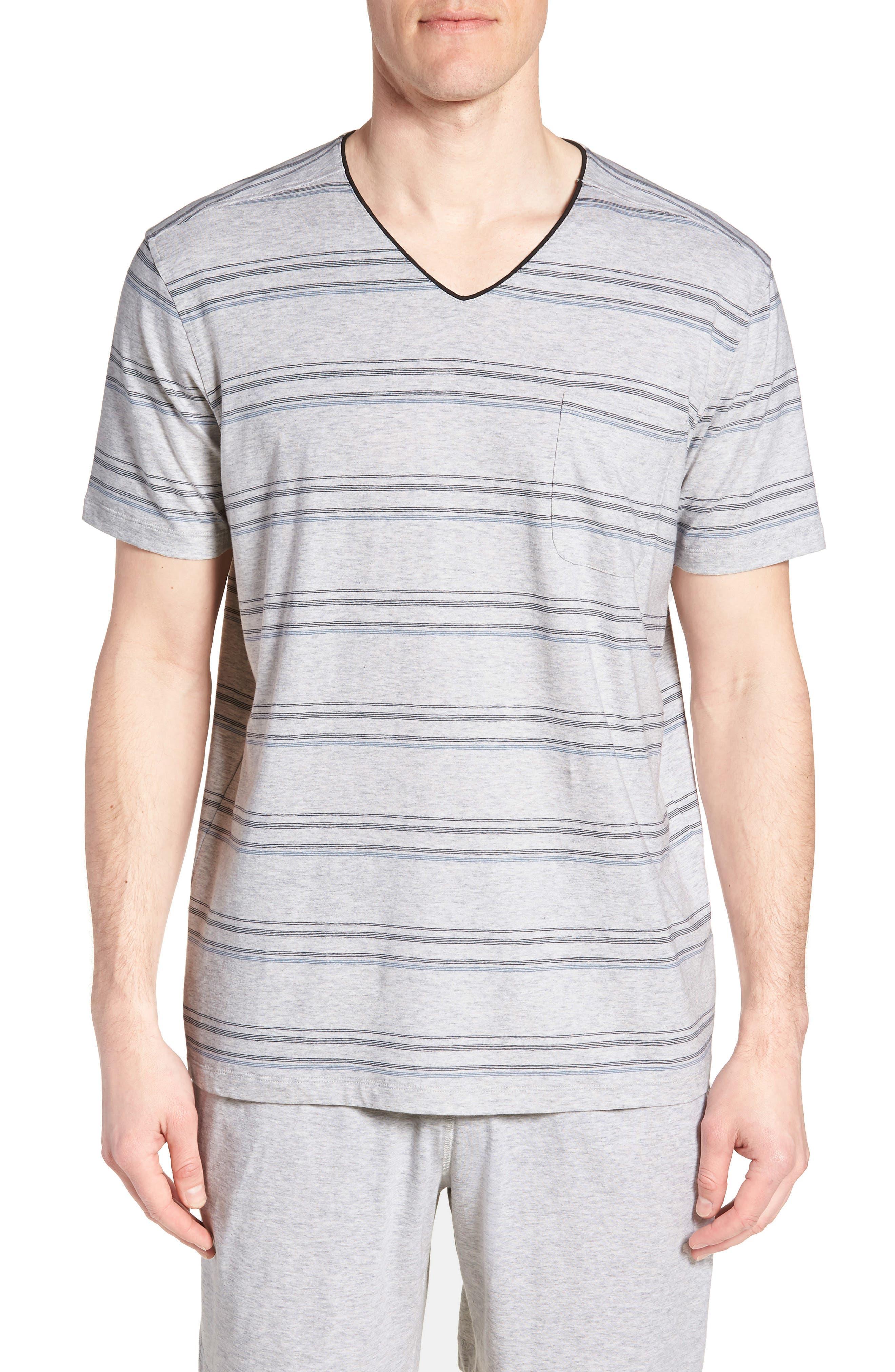 Stripe Pima Cotton & Modal V-Neck T-Shirt,                             Main thumbnail 1, color,                             BLACK/ BLUE