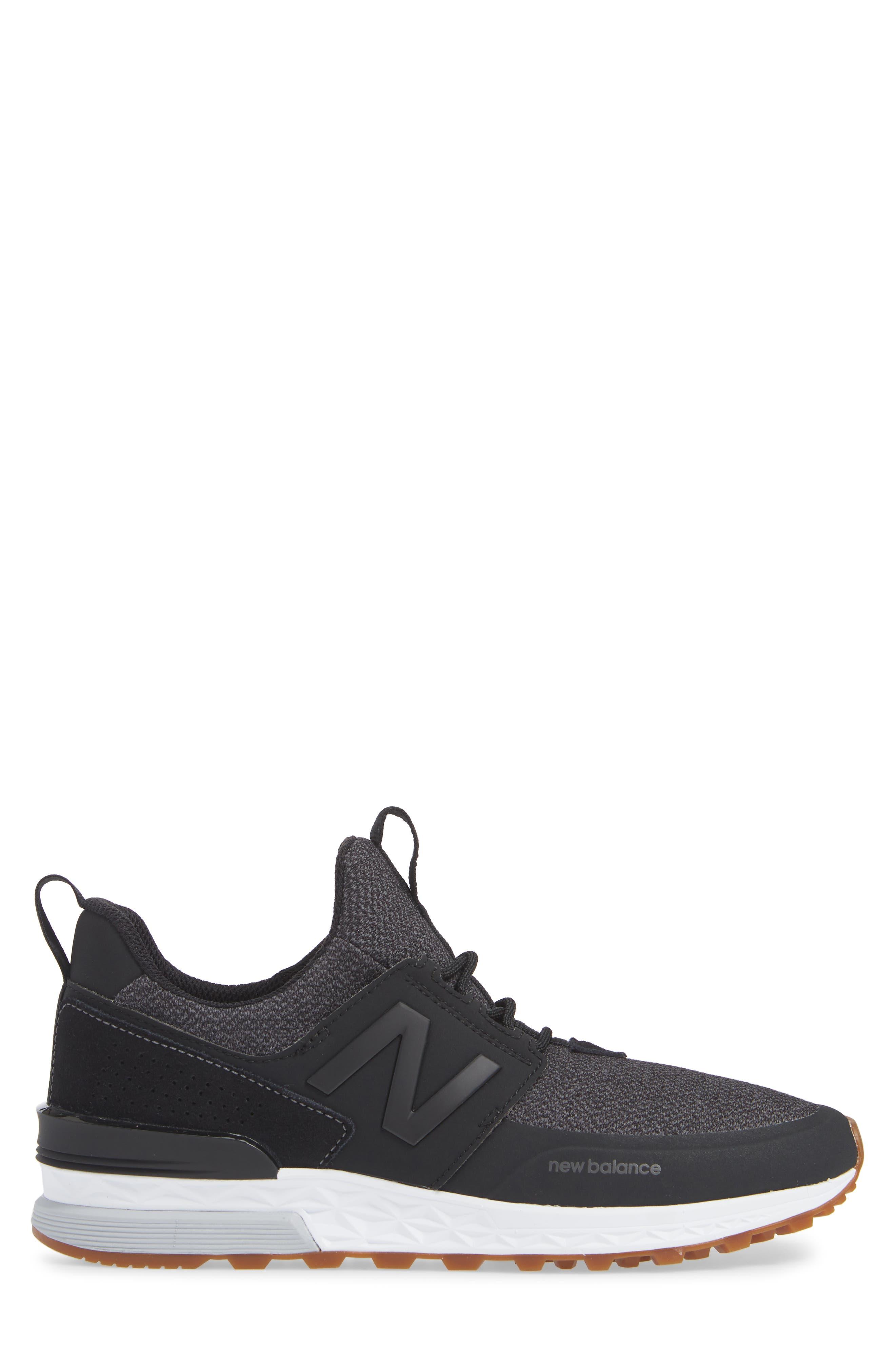 574 Sport Sneaker,                             Alternate thumbnail 3, color,                             BLACK SYNTHETIC/ TEXTILE