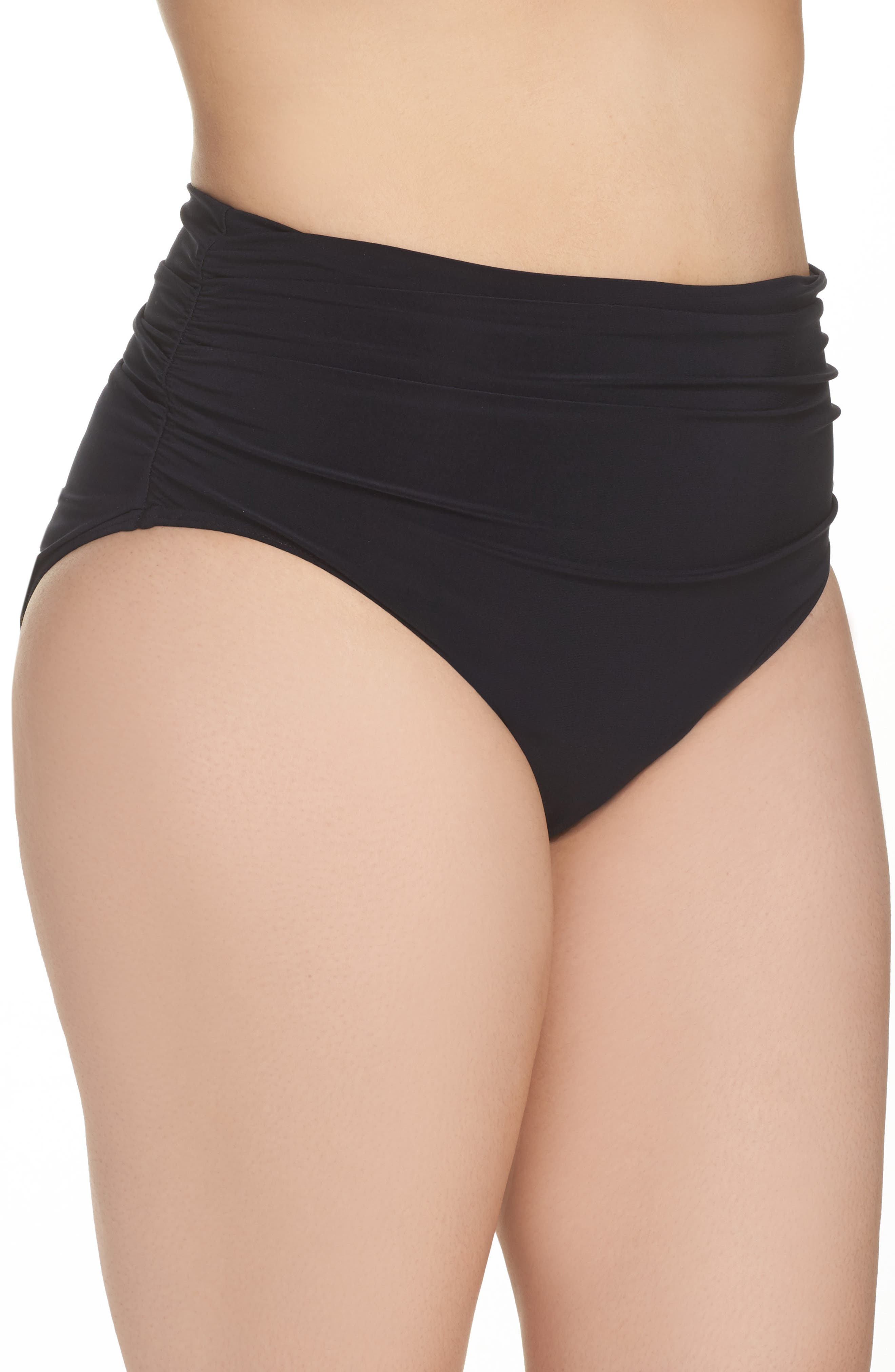 Ruched Bikini Bottoms,                             Alternate thumbnail 3, color,                             001