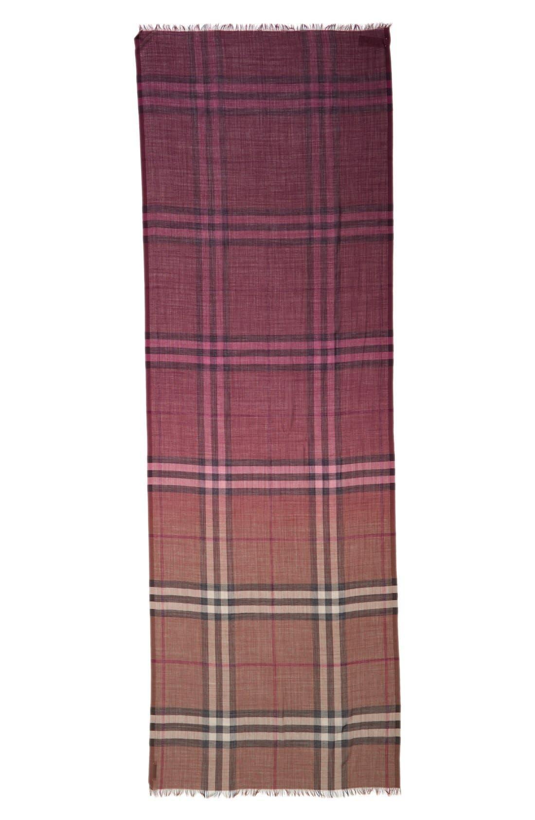 Ombré Check Wool & Silk Scarf,                             Alternate thumbnail 9, color,