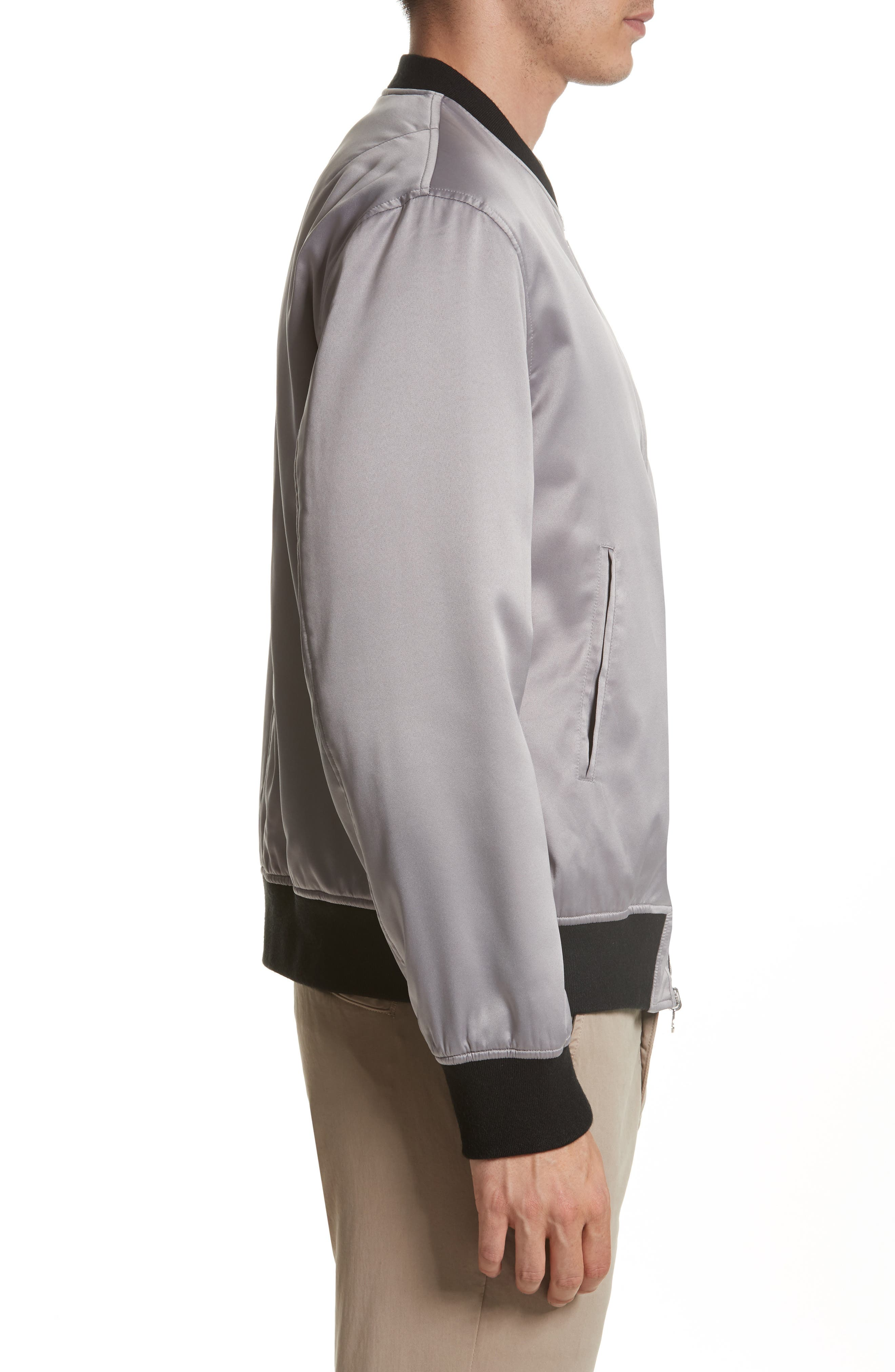 Reversible Zip Front Bomber Jacket,                             Alternate thumbnail 4, color,                             009