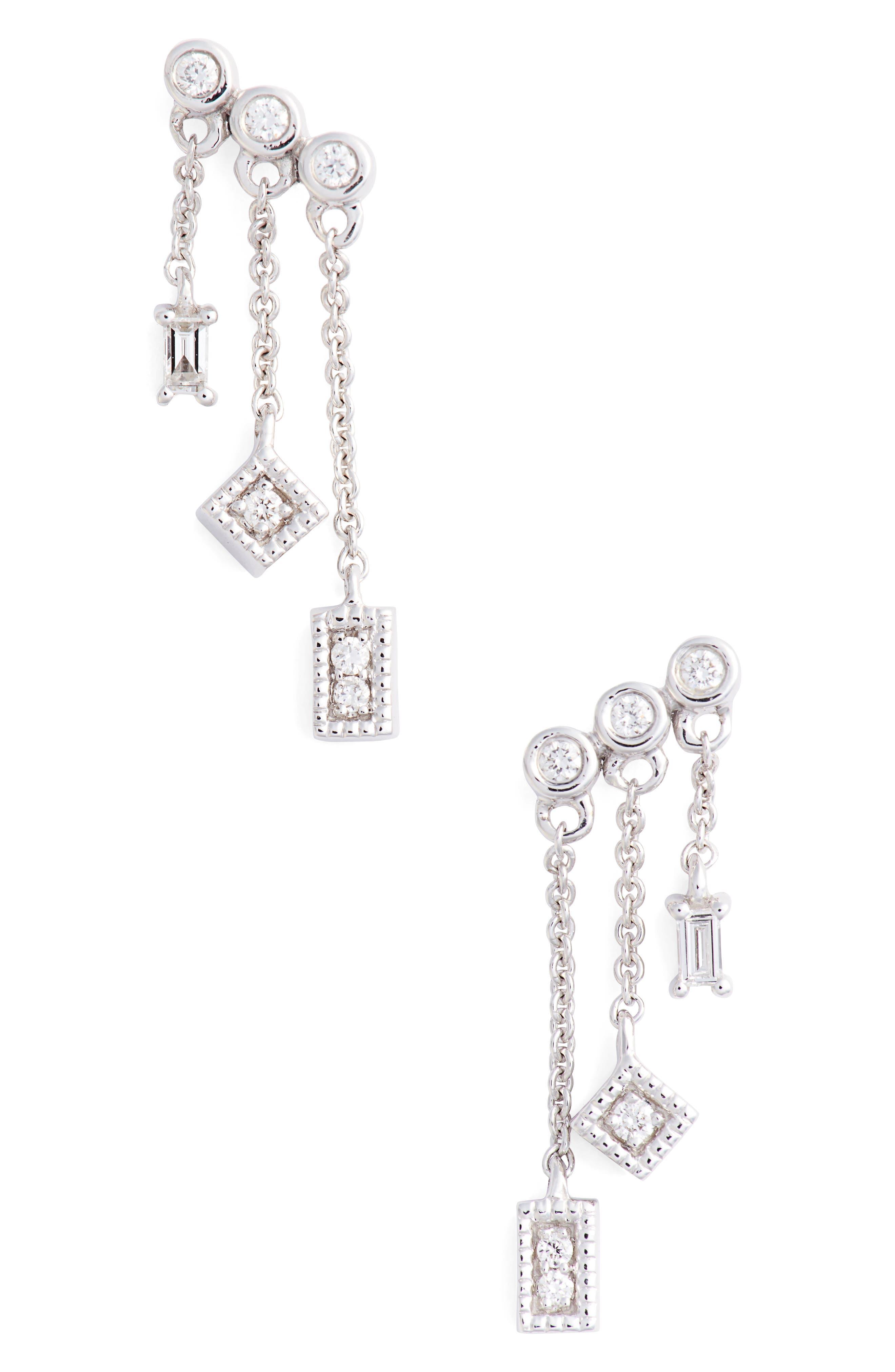 Lisa Michelle Diamond Drop Earrings,                             Main thumbnail 1, color,                             WHITE GOLD